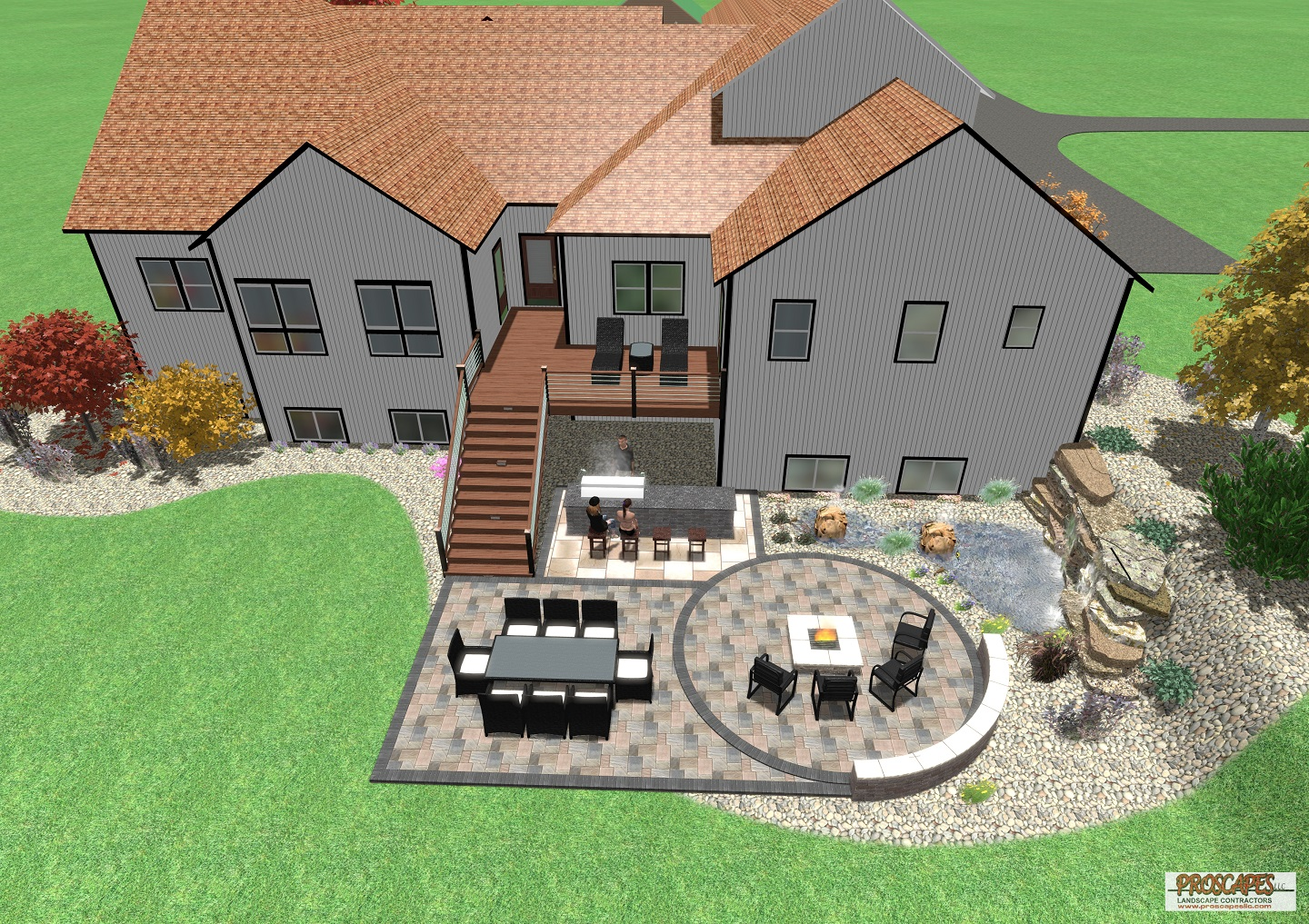 Approximate price: $80,000 - This outdoor living space offers a hearty welcome to visitors with warm earth-toned pavers, a bar-front grill station, large dining area, and a fire pit area flanked by a curved seating wall. This design creates the ultimate entertaining experience in a beautiful setting. This project's unique features include Wifi controlled dimmable lighting, a retaining wall with a waterfall, and boulder fountains set in the pond.
