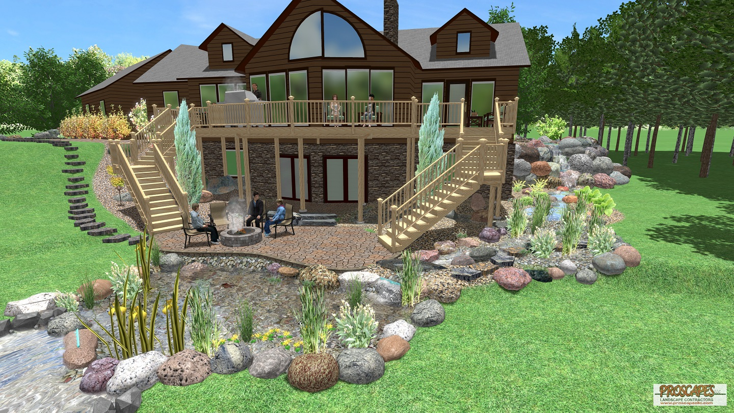 Approximate price: $150,000 - This naturalistic design is the ultimate in serenity. The intimate ground-level paver patio is enclosed on three sides to give a sense of privacy. The patio's warm paver colors and relaxed curved shape blend it beautifully into the landscape and create a sense of being in nature. This project's unique features also include a wetland filter on a large pond, a pondless waterfall, and a Wifi controlled lighting system.