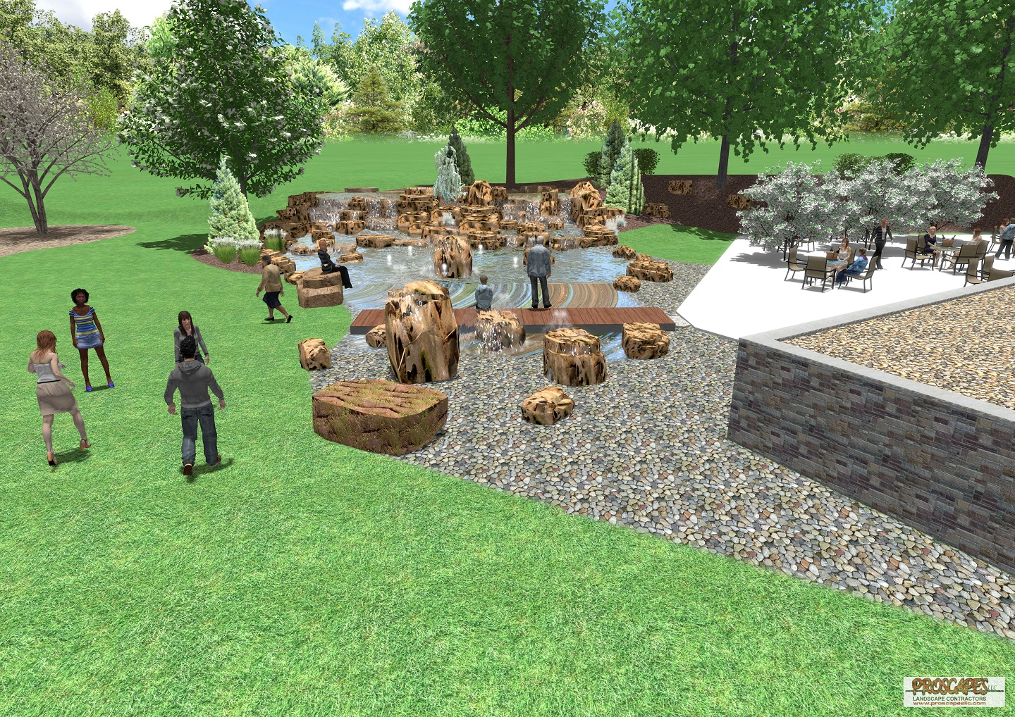 $200,000+ - Whatever your desire, we can create a magical landscape — whether you want to welcome visitors to your business or create the ultimate backyard retreat. This spectacular design features an aquatic wonderland with over 200 tones of weathered limestone, full color lighting system, remote pumps, 5 boulder fountains, and an IPE (Brazilian walnut) bridge.