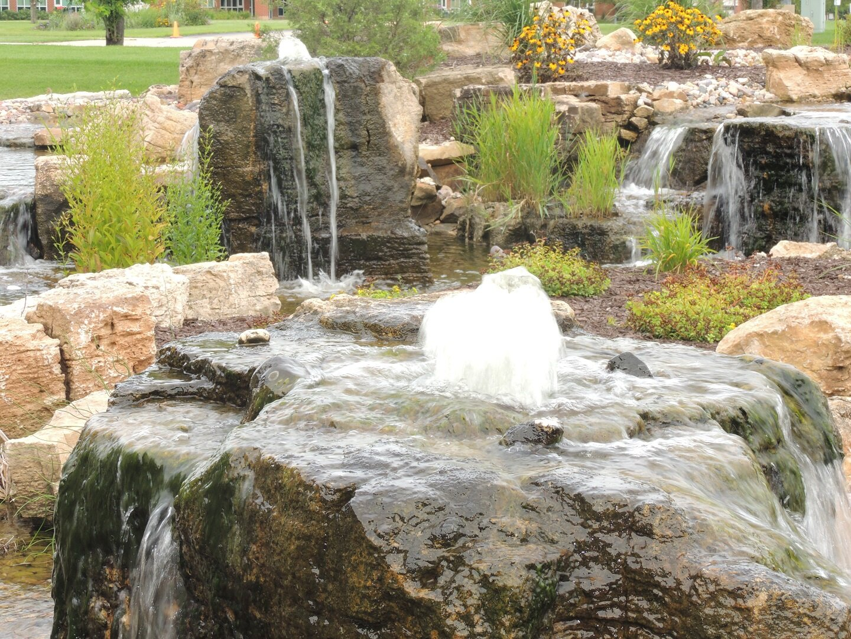 Modern pond in Middleton WI
