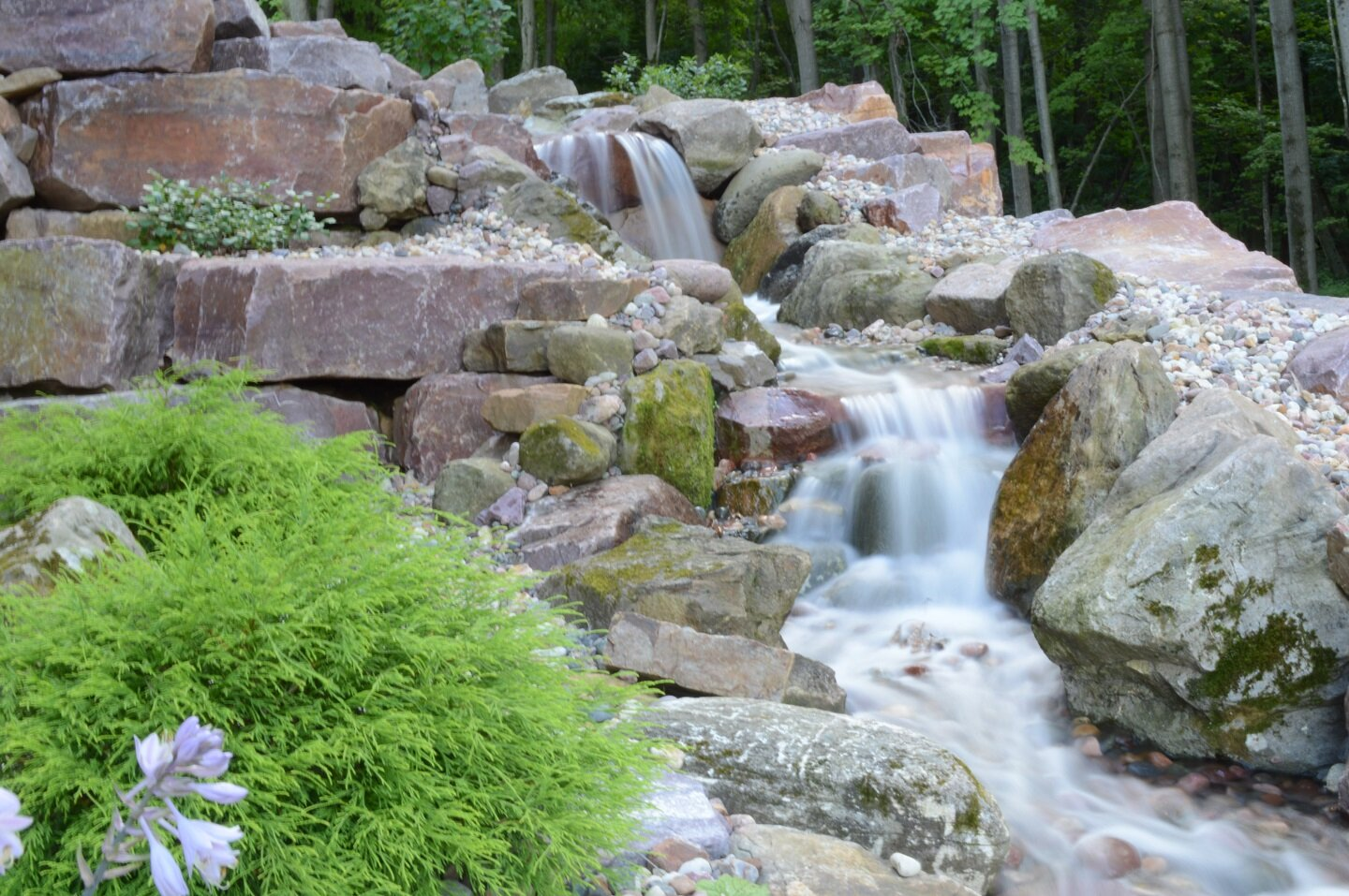 Landscape design with pond in Waunakee WI
