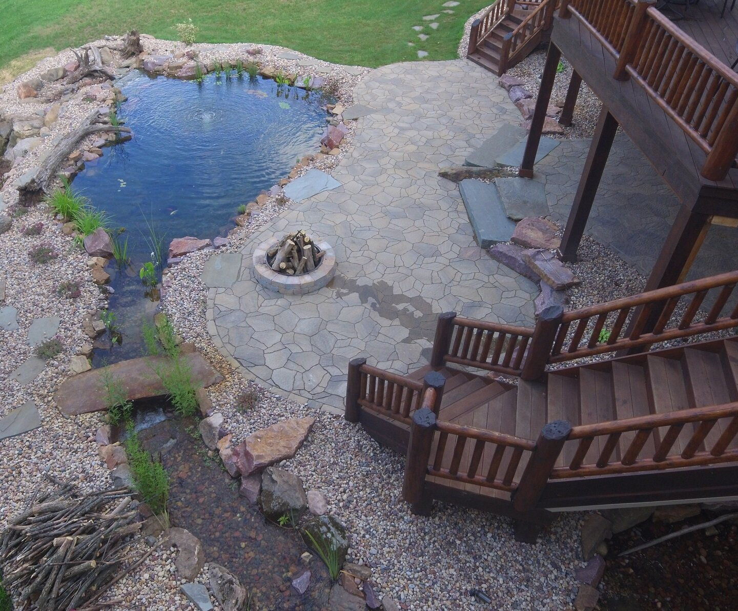 Pond and patio in in Middleton WI