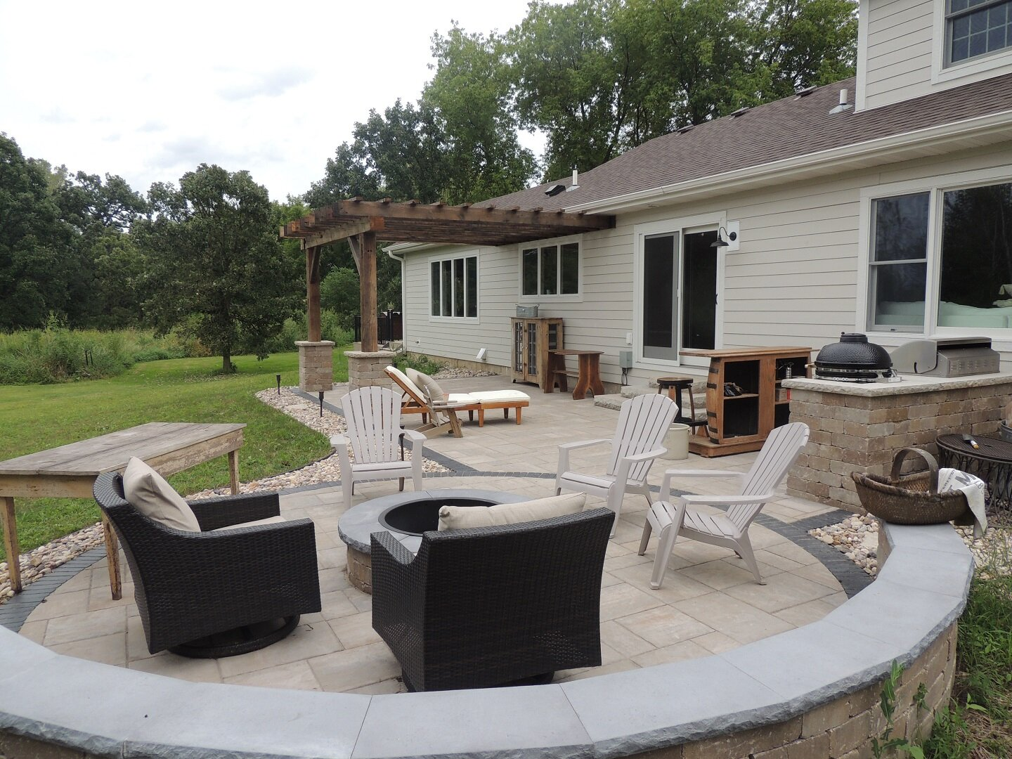 Beautiful patio in Fitchburg WI with outdoor fireplace