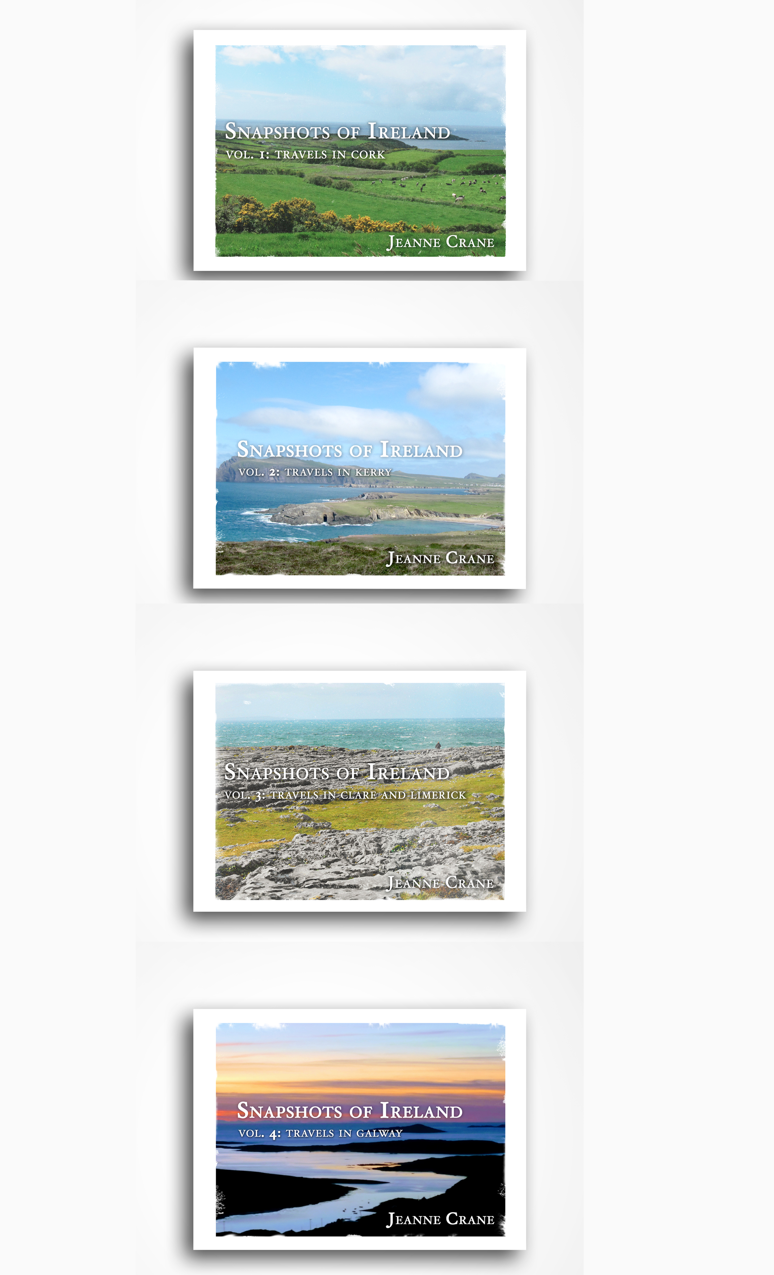 Snapshots of Ireland Volumes 1 - 4 - Snapshots of Ireland is the overarching title for this series of travel books that offers the reader an up close and personal glimpse of the Emerald Isle, along the Wild Atlantic Way. The pictures and the author's conversational notes reflect her love for Ireland and her keen eye for places and experiences that capture the Irish spirit. She includes the obvious tourist stops, but relishes in sharing hidden treasures that may be just a few miles off the beaten path, especially those the Irish call thin places. Readers going to Ireland will find guidance in these soft-covers, lightweight, handy books (8.25 x 6 inches). Armchair travelers will enjoy a vicarious tour. Those who have already visited Ireland will find the pictures and commentary evoke fond memories.Volume 1: Travels in CorkVolume 2: Travels in KerryVolume 3: Travels in Clare and LimerickVolume 4: Travels in Galway