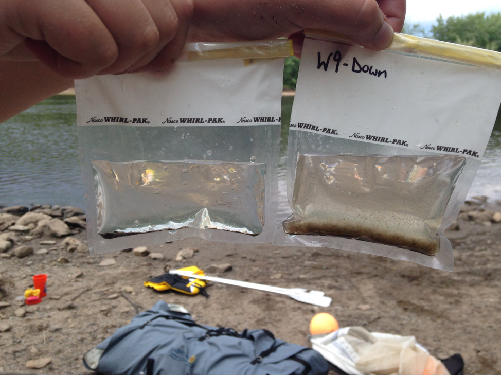 River water sampled for microplastics downstream (left) and upstream (right) of discharge points for waste water treatment plants.