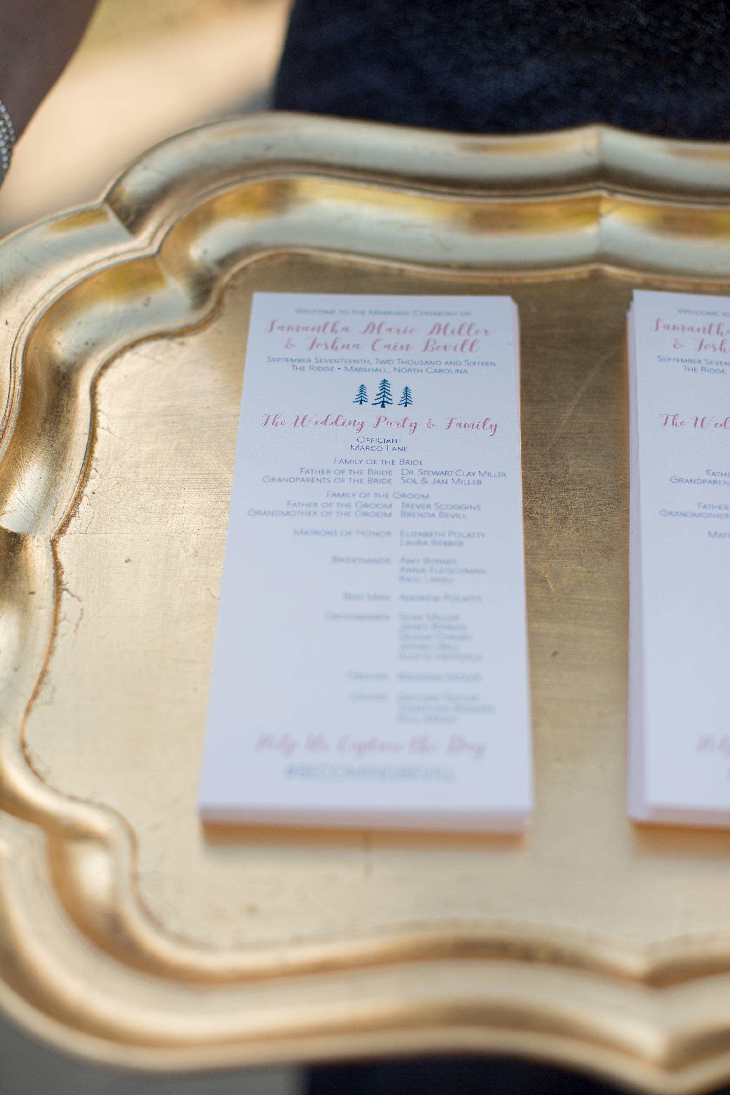 samantha & josh's ceremony programs