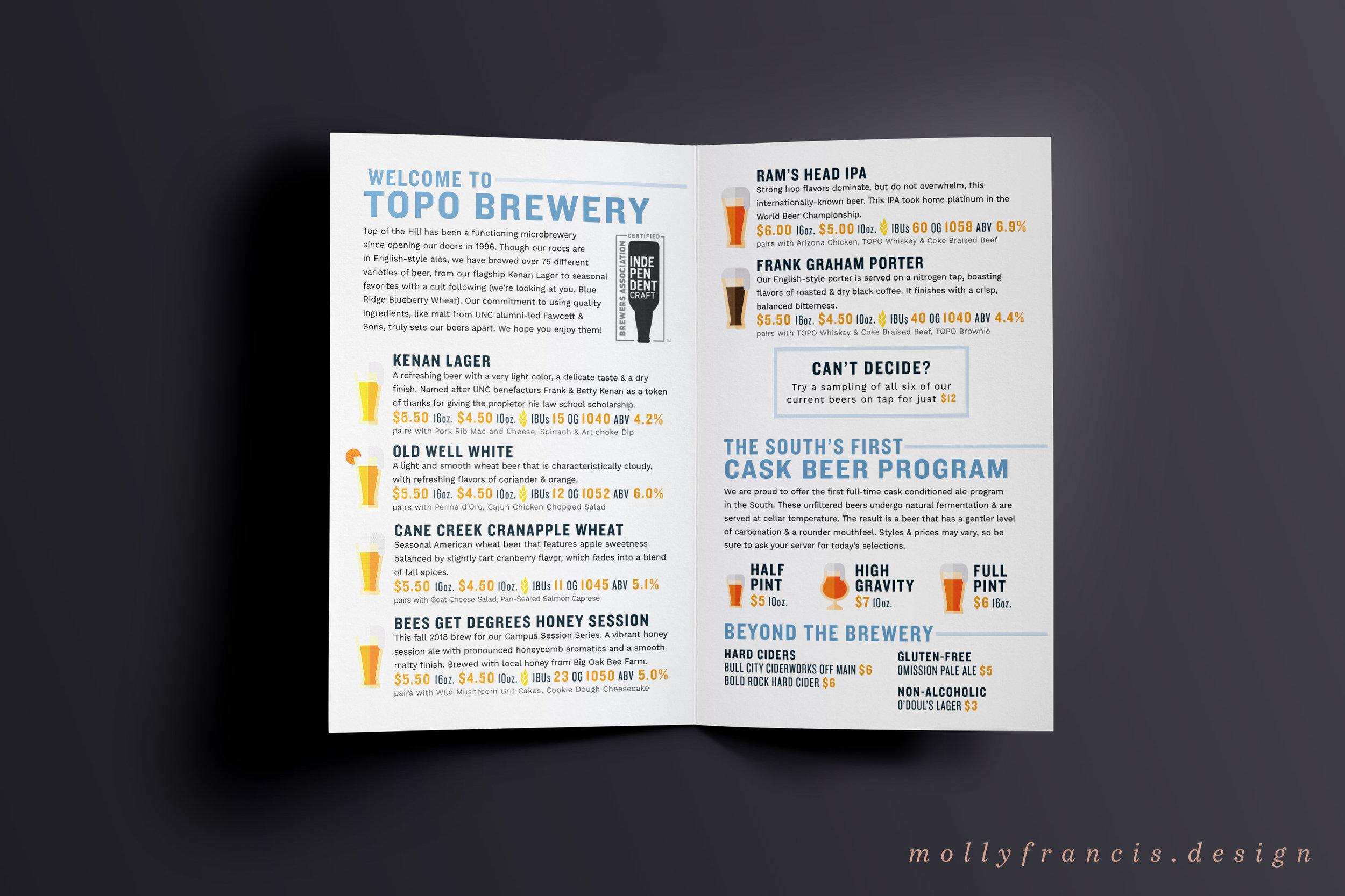 top of the hill beer menu