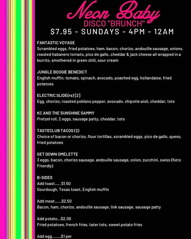 Disco Brunch, Baby! Every Sunday from 4pm - Midnight! ⚡️ at @neonbabydenver