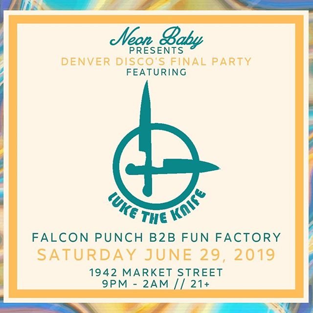 ✨ @luketheknifepics is tearing up the decks tonight along with @falconpunchmusic b2b @funfactorydenver for the FINAL @denverdisco ✨ tickets available at the door! 🕺