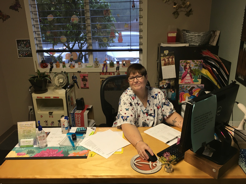 Robby in her office.