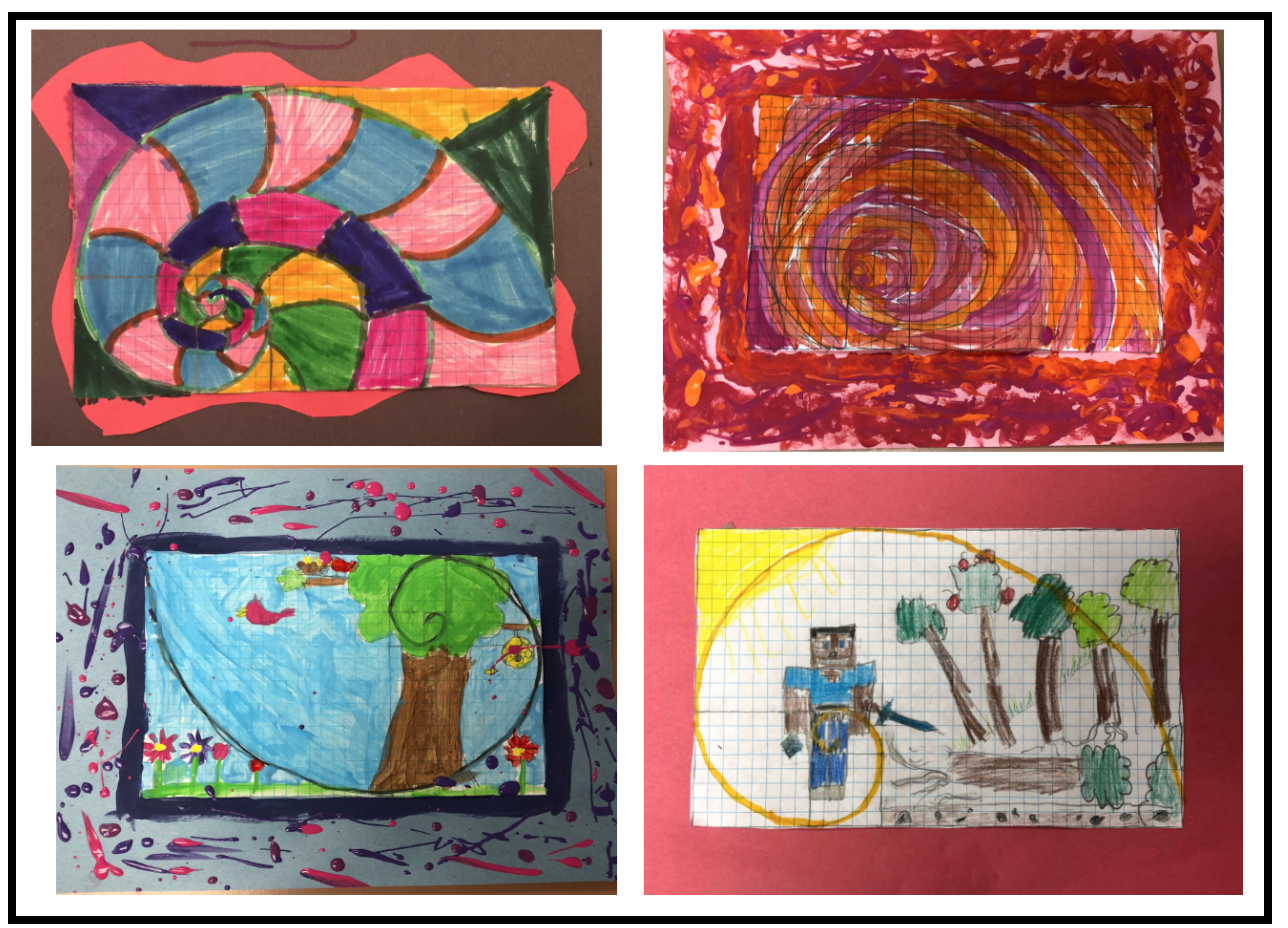 The Fabulous Fibonacci - These pieces of artwork were created by 3rd and 4th grade students. Using the Fibonacci Numbers, students drew a grid on which they constructed the Golden Spiral. Students either used the Spiral as an abstract design, or created a piece of artwork whose proportions were guided by the Spiral.