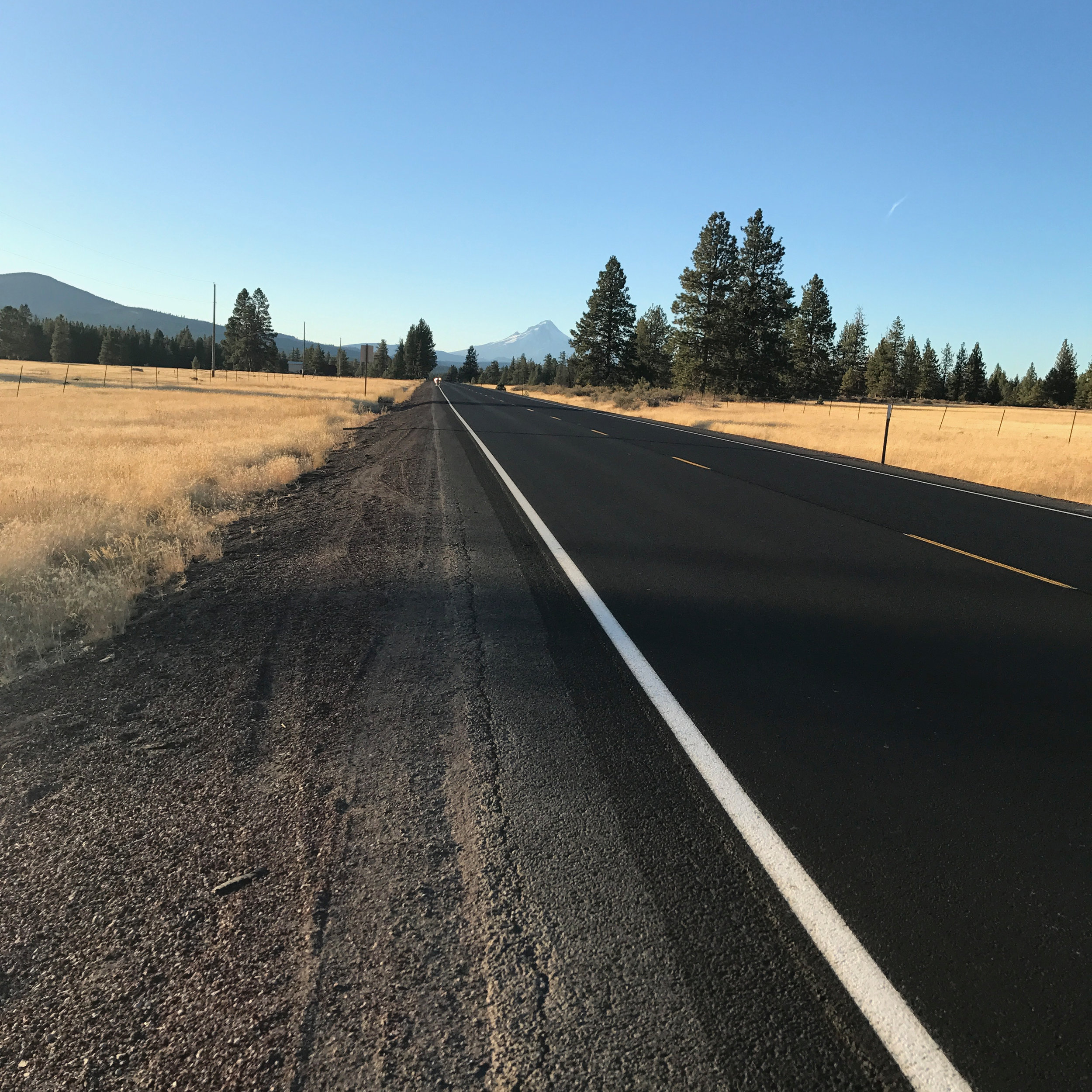 Warm Springs Highway, getting ever so much closer to Mt. Hood