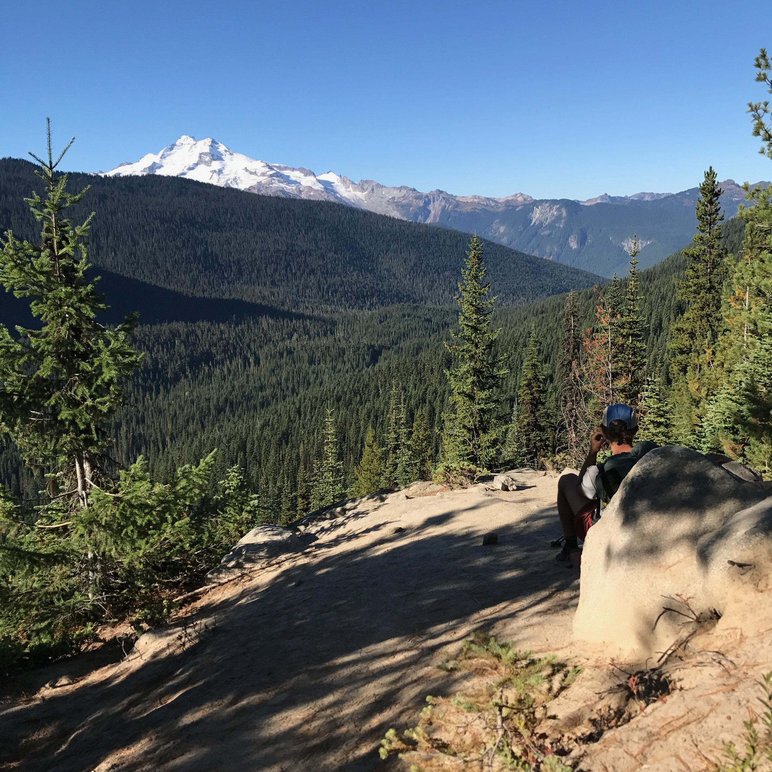 Taking in Glacier Peak one last time before leaving its wilderness