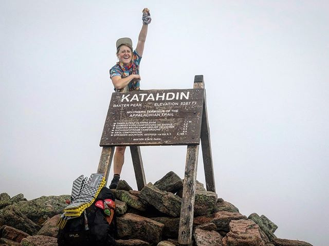 "APPALACHIAN TRAIL | DAY 136-142 | At the top of the mountain we learned it was always for her. All of it, it was all for Mama Katahdin. Every slippery boulder, sore knee, itchy bite and rolled ankle. Every sweaty, humid drag across days without a tickle of breeze. Every day I howled from exasperation and kept pushing. 2200 miles. Nearly a marathon a day, every day, wake up, rinse, repeat.  But today? No marathon, just four miles. I woke up crawling out of my skin with anticipation, my two sheltermates still sleeping beside me. I forced myself to take the time to eat breakfast, knowing the climb would be slippery and long. I took my time packing up, but the instant my pack was on my back I shot for the summit. I heaved up the trail, chugging like some rogue train with the engineer asleep at the wheel, no brakes, barreling up a single track to a lone point in the distance. I hit the exposed boulder field, turned my head around as the trees fell away, and my breath caught in my throat— ""Whoa,"" I said to the mountain. Nobody else around but me and her. Wisps of cloud swirled over the expansive landscape and around a peak I was headed for but couldn't see. I pushed on, ready for the hardest bouldering climb of the last five months. I'd look at a curl of rebar or an expanse of boulder and think ""how the hell am I supposed to—"" but before I could finish the thought my body had already taken care of it and I'd be looking back at the obstacle. It took care of me, and the mountain took care of me, and we made our way up, up, until with a whoop and a holler I was the second thru hiker to the top of Mama Katahdin, September 3, 2019.  How true it felt that we earned our climb. 141 days of preparation to commune with her. What a gift to summit such a wild, beautiful beast at the end of this long pilgrimage. . 📍Ancestral lands of the Wabanaki Confederation. Wabanaki means 'People of the First Light'. Every year tribal members make a private pilgrimage up Katahdin that traces the movements of their ancestors—ancestors who were forced from the land that included what we now call Baxter State Park. The ceremony is a temporary reclaiming of the wilderness that was once theirs."