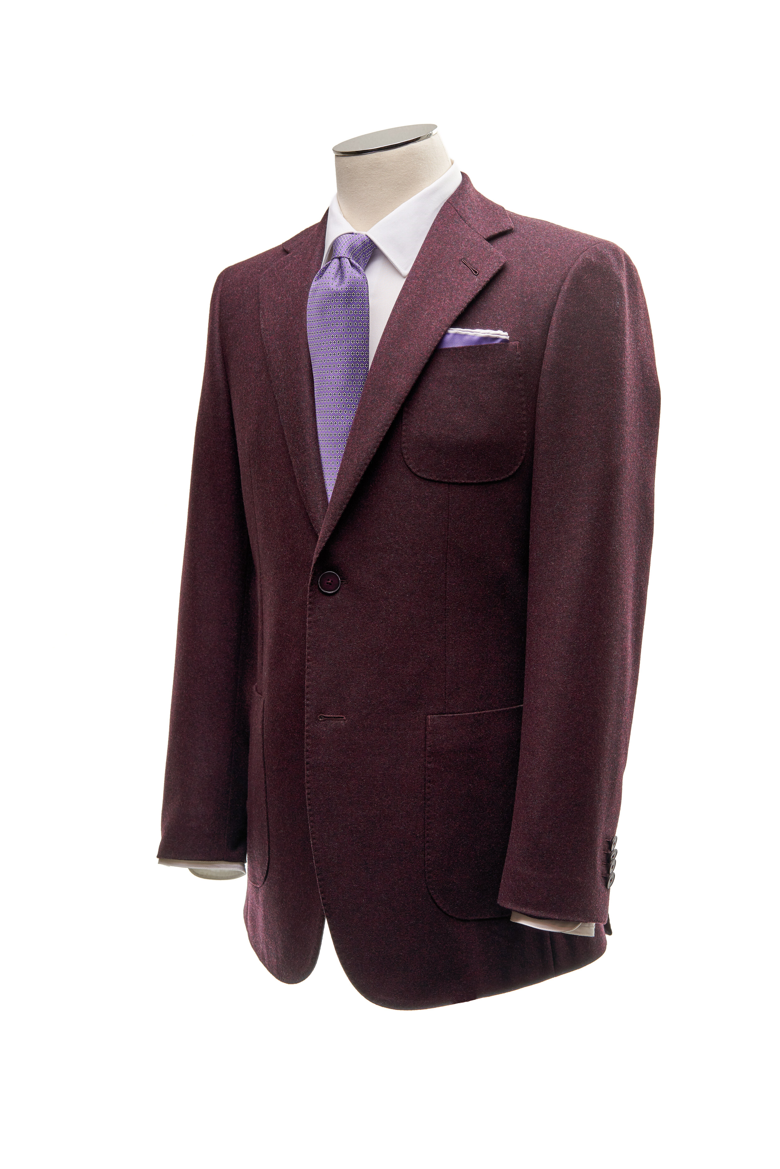 Burgundy Flannel - Single breasted burgundy flannel jacket. Two button, notch lapel, patch pockets. Cloth composition 90% wool 10% Silk, 420g/m.