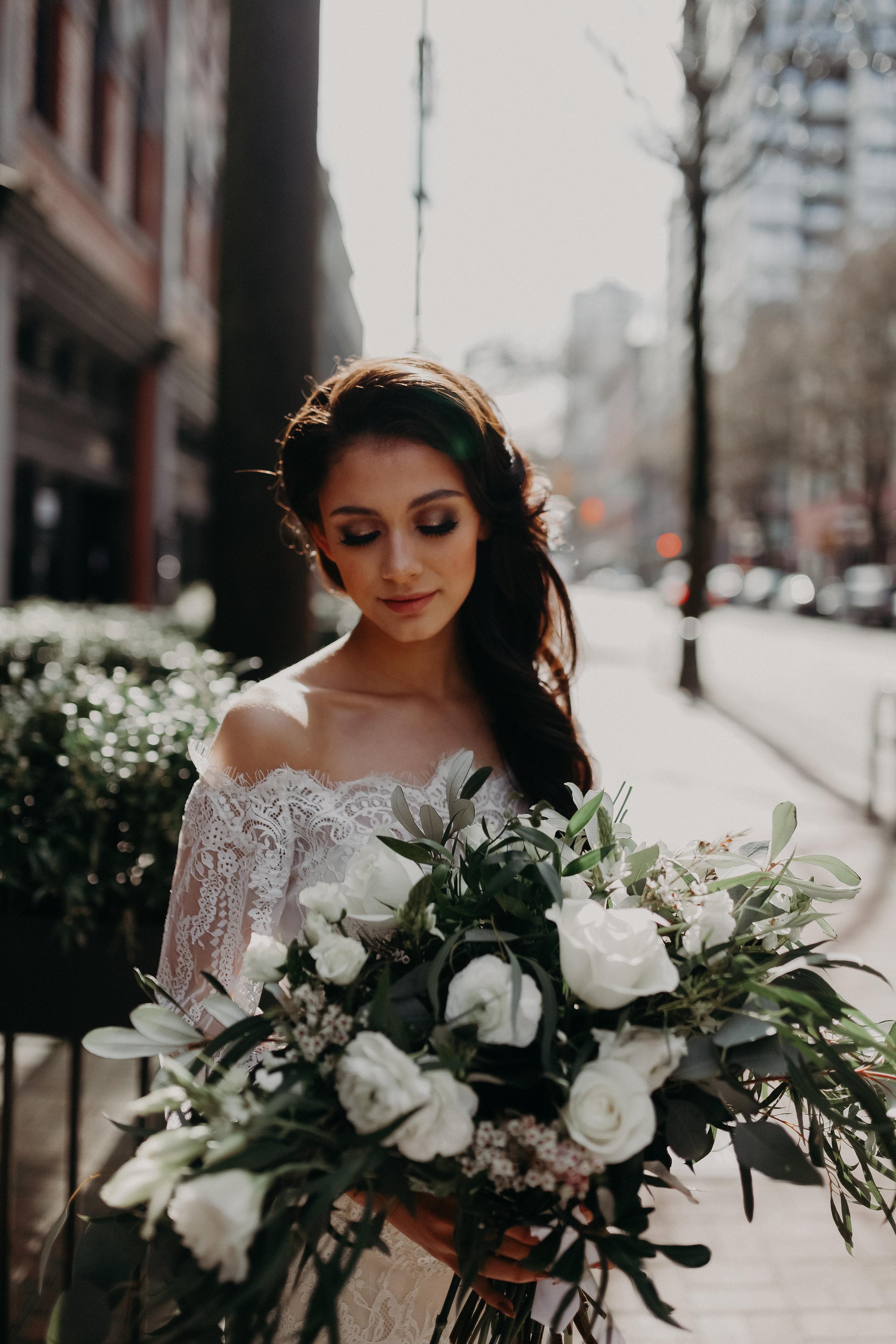 Model: Keira  Photographer: Sarah Arsenault  Creative Director: Divine Decor  Floral Arrangements: Divine Decor  Hair and Makeup: Ax Art Makeup