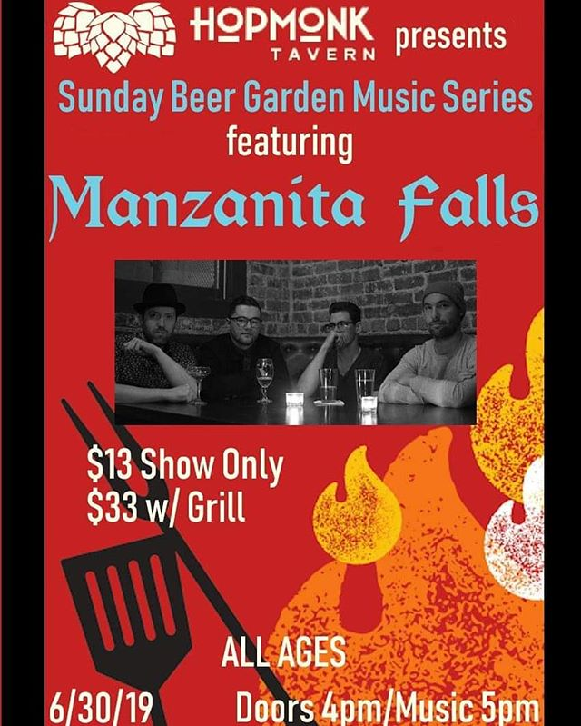 This show is happening tomorrow! Come hang out in the beer garden with us! Doors 4pm/show 5pm/ALL AGES!/outdoor show!  #manzanitafalls #hopmonksebastopol #beer #brats #beergarden #livemusic #dinnerandshow #netflixcanwait #indiemusic #sebastopol #sonomacountymusic #potatosalad