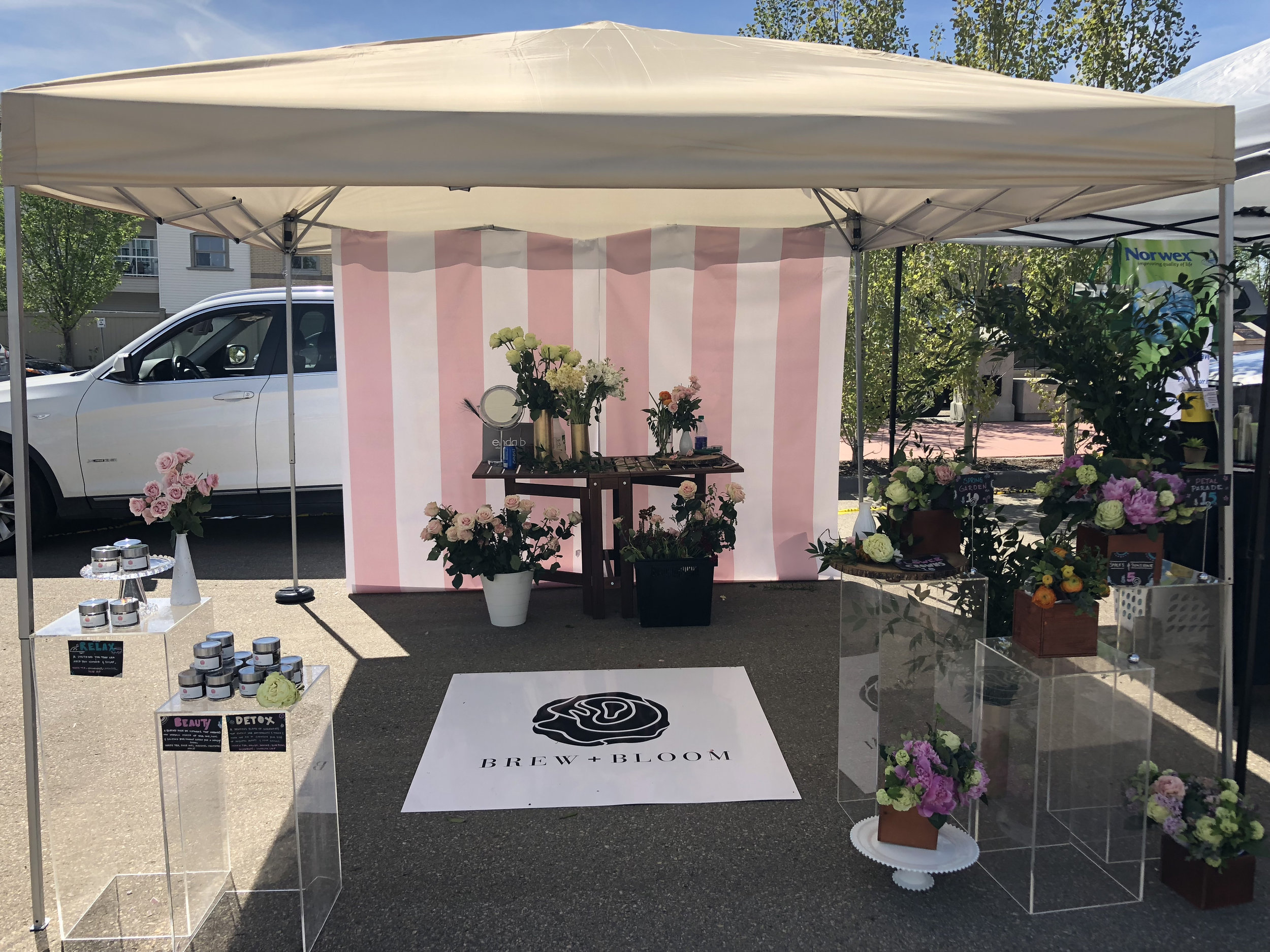 Our humble beginnings at Millers Crossing Farmers' Market in June 2018.