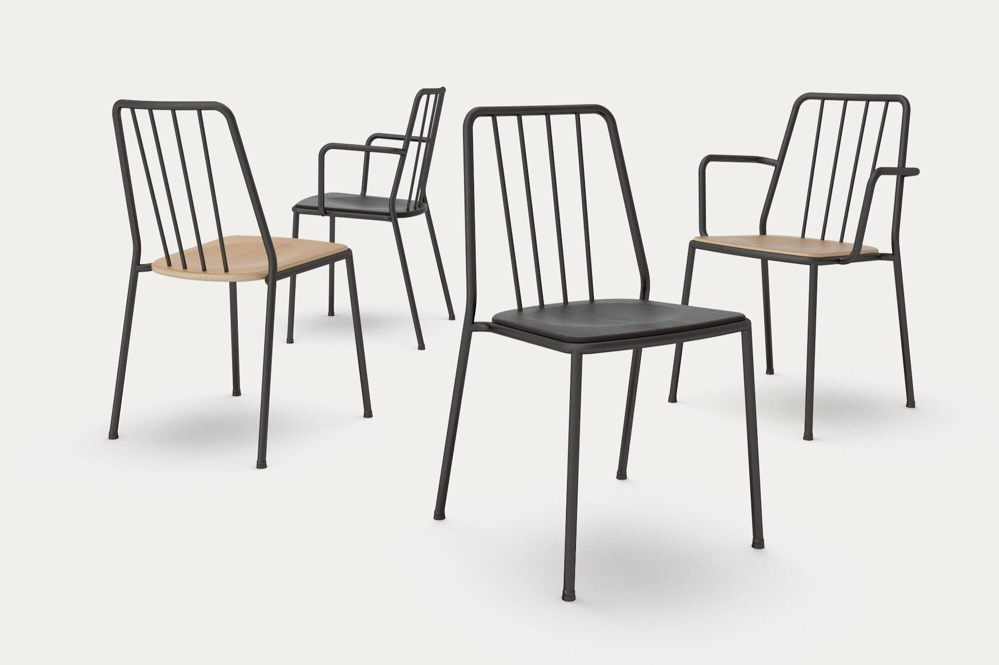 Built to last - The design is effortlessly current with a gentle nod to the past, vertical rods in the back recall the Windsor chair. Refined to its simplest form, an elegant metal frame carries a plywood seat, sculpted for comfort. Dependable materials and robust construction techniques ensure the chair will endure for generations.