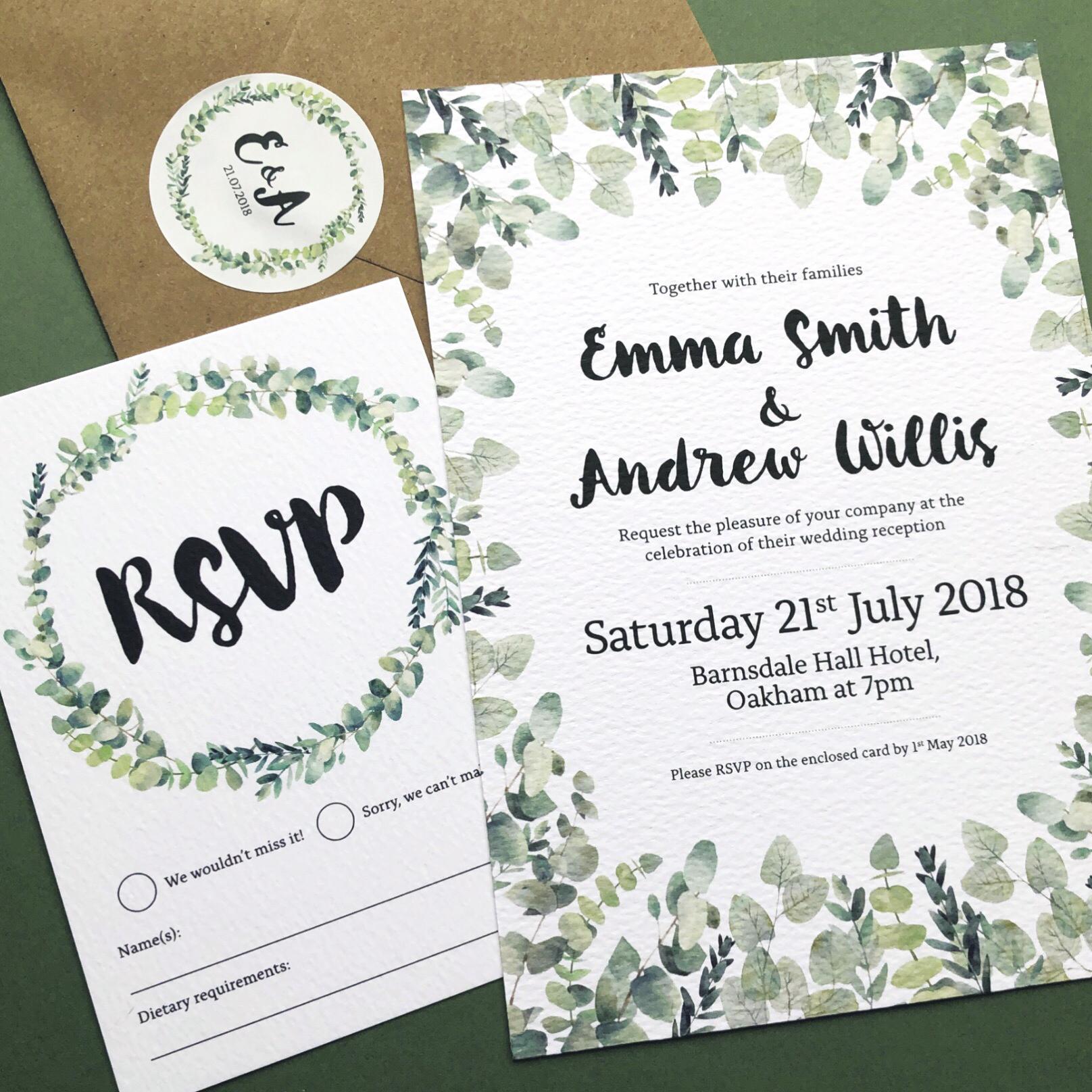 Rustic Eucalyptus Wedding Stationery Invitation Set