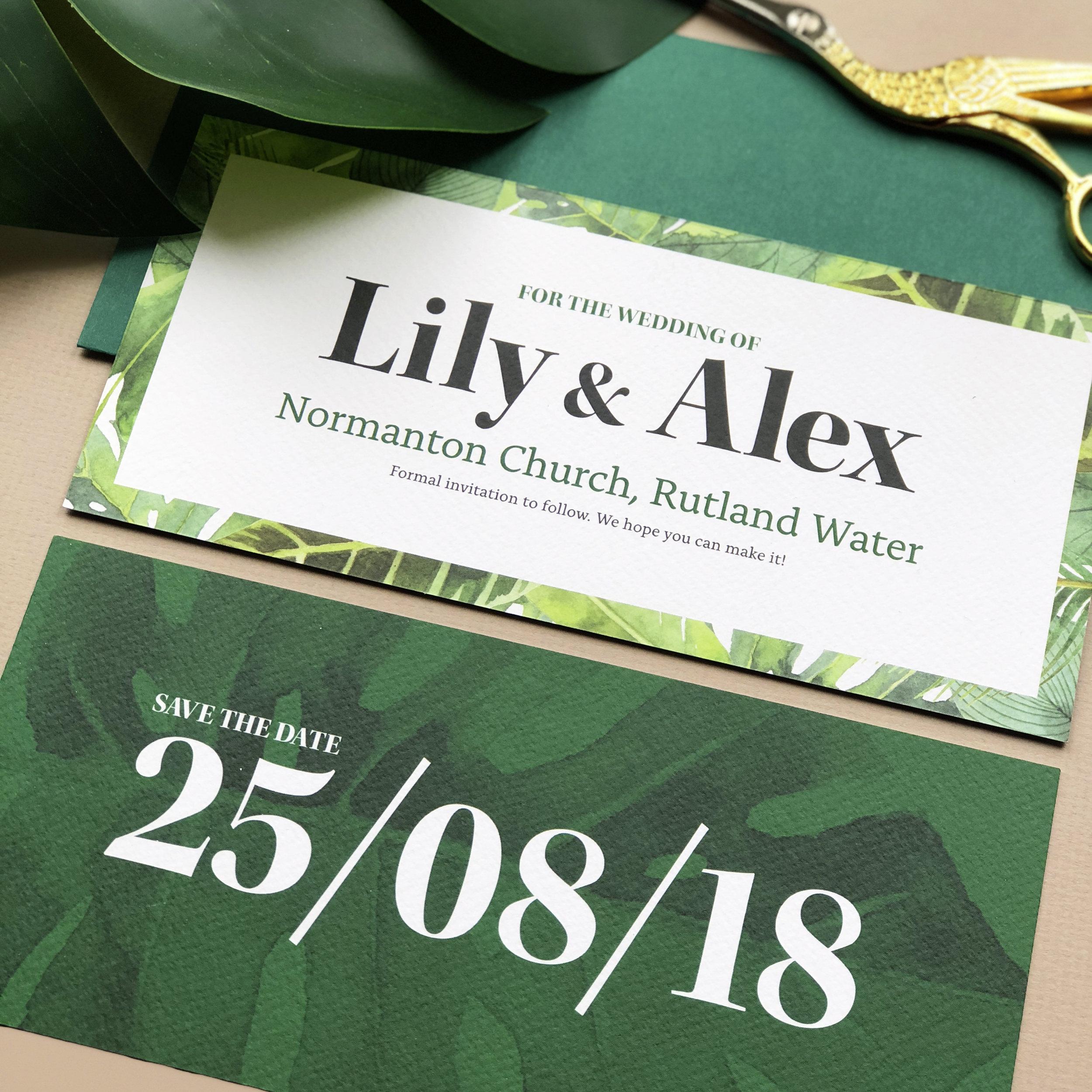 Modern Tropical Botanical Wedding Stationery Save The date Card
