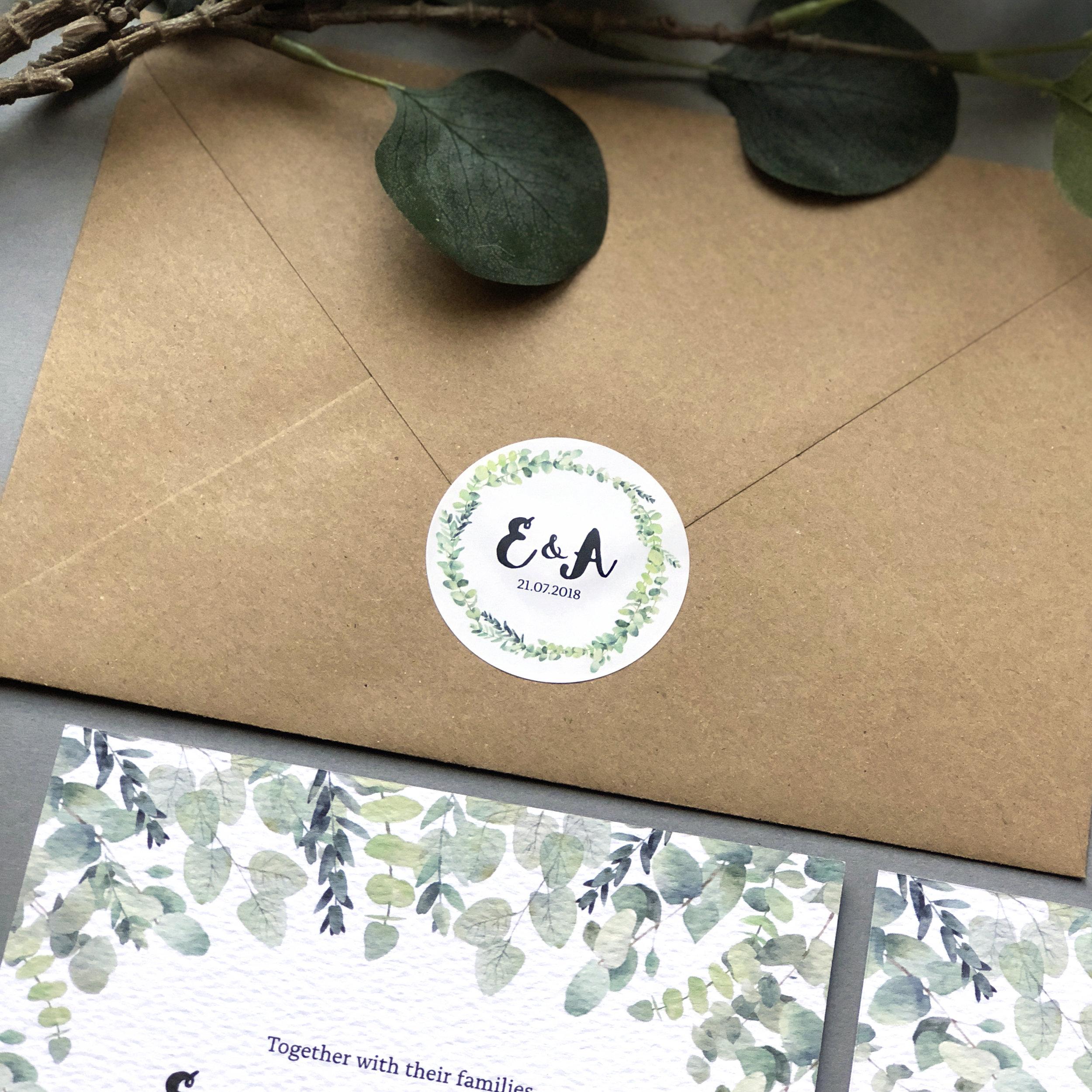 Rustic Botanical Eucalyptus Wedding Stationery Circle Sticker