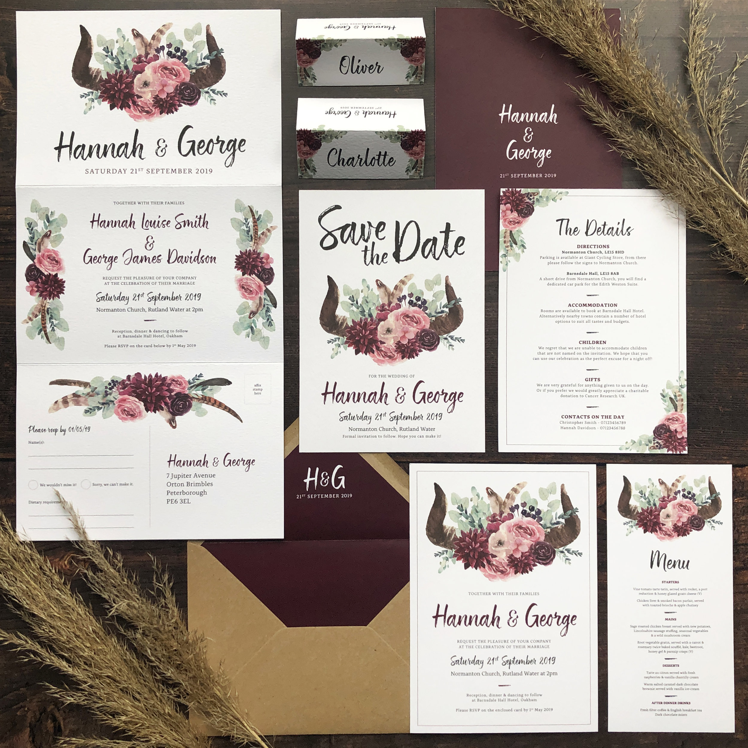 Boho Botanical Festival Wedding Stationery Invitation Suite Template