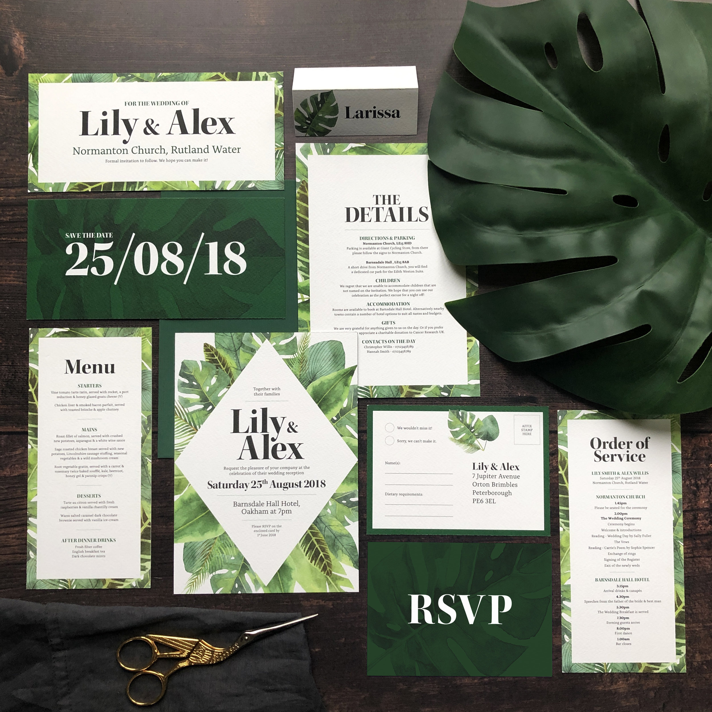 Tropical Botanical Wedding Stationery Invitation Suite Template