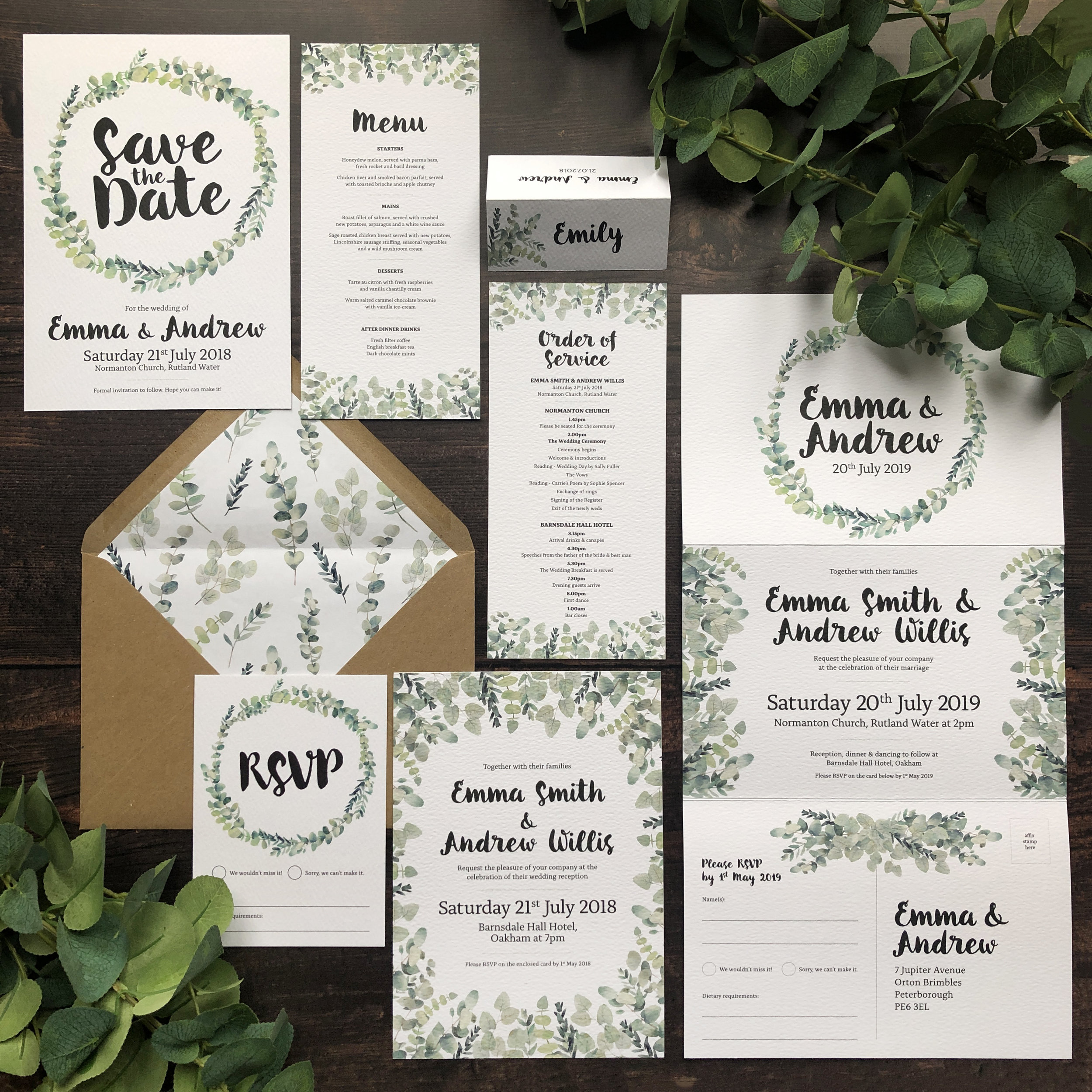 Rustic Botanical Eucalyptus Wedding Stationery Invitation Suite Template