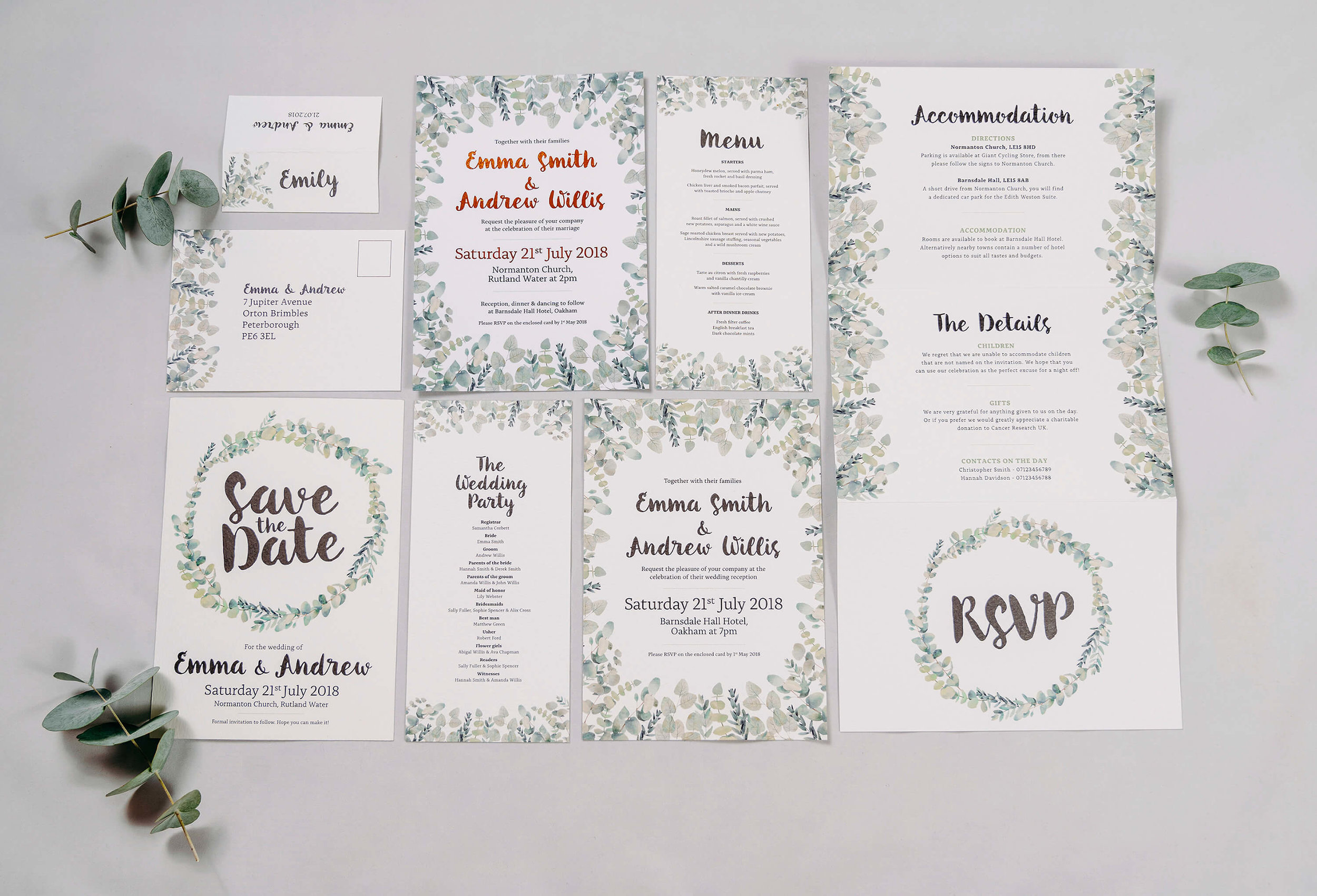 Rustic Green & White Eucalyptus Wedding Invitation Stationery Suite Including Save The Date Card, Digital Foiled Invitations, Concertina Invitation, RSVP Postcard, Place Name Card, Order of Service & Menu.