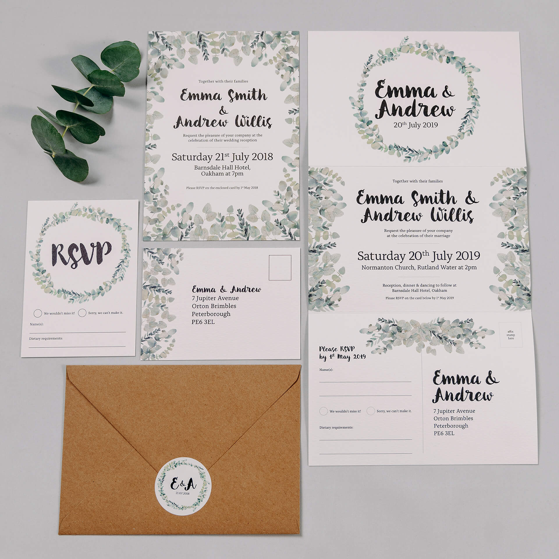 Rustic Green & White Eucalyptus Wedding Invitation Stationery Suite