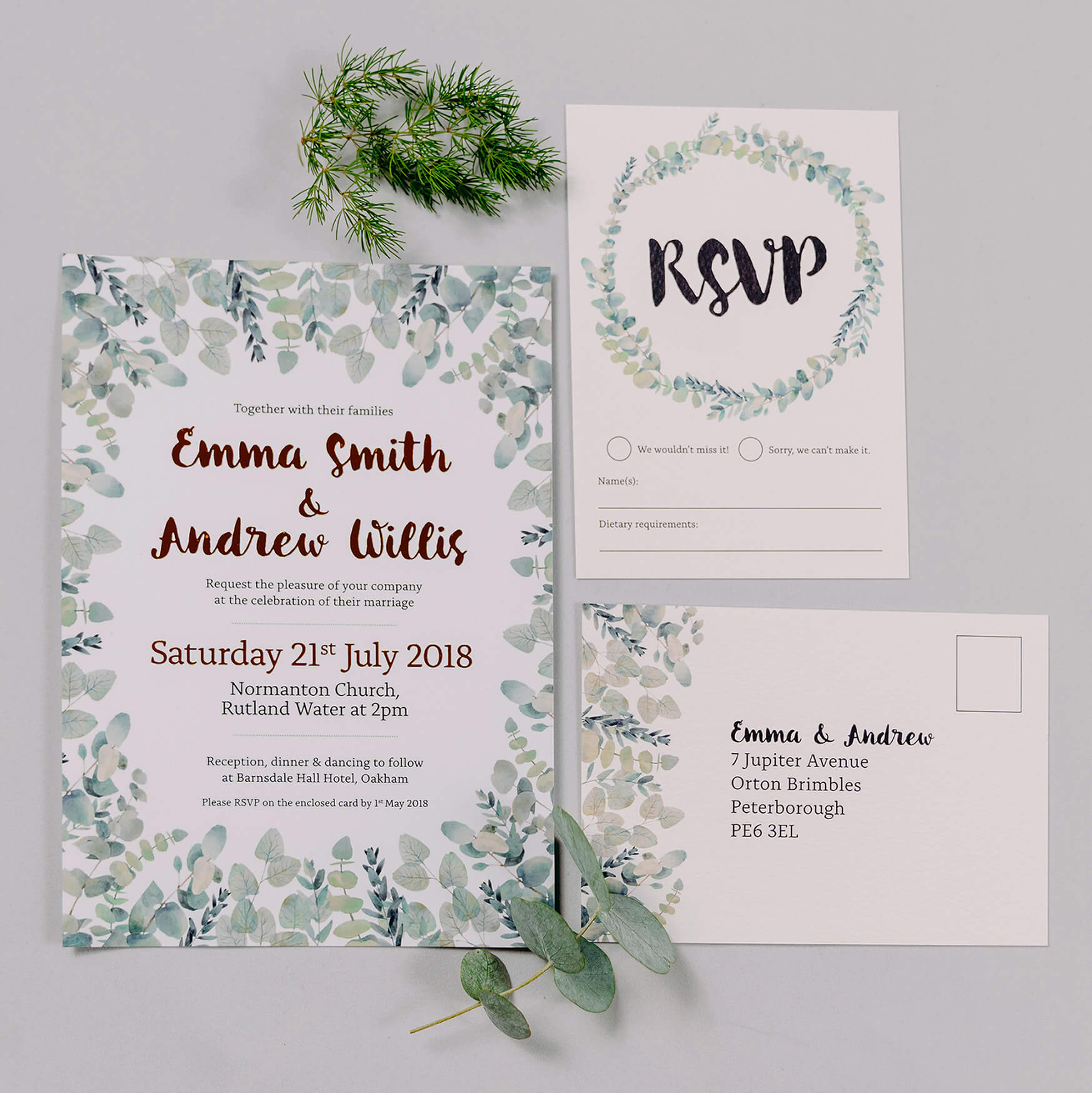 Rustic Green & White Eucalyptus Wedding Invitation With Copper Digital Foil & RSVP Card