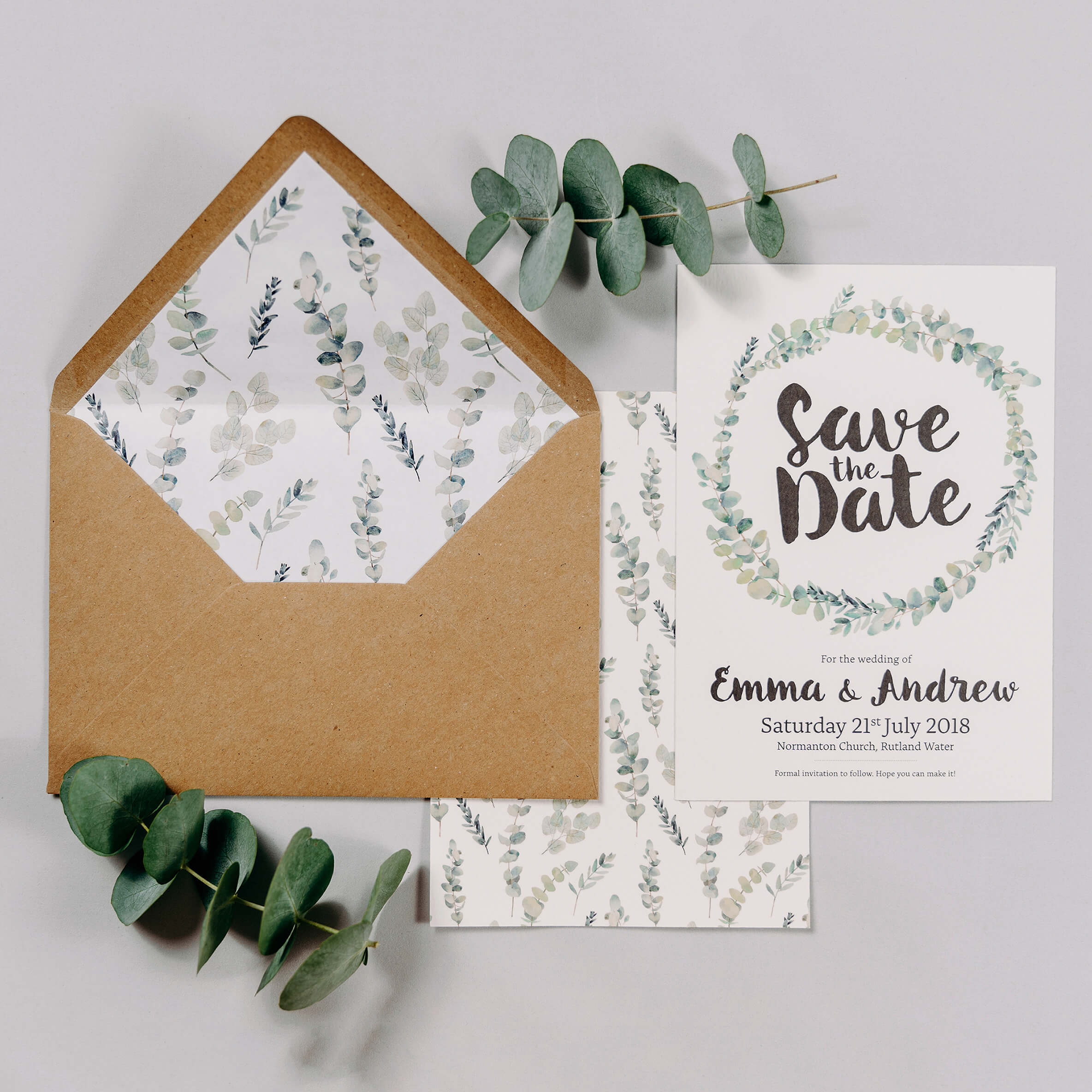 Rustic Green & White Eucalyptus A5 Double Sided Wedding Save The Date Card With Wreath Design& Kraft Brown Envelope With Eucalyptus Envelope Liner