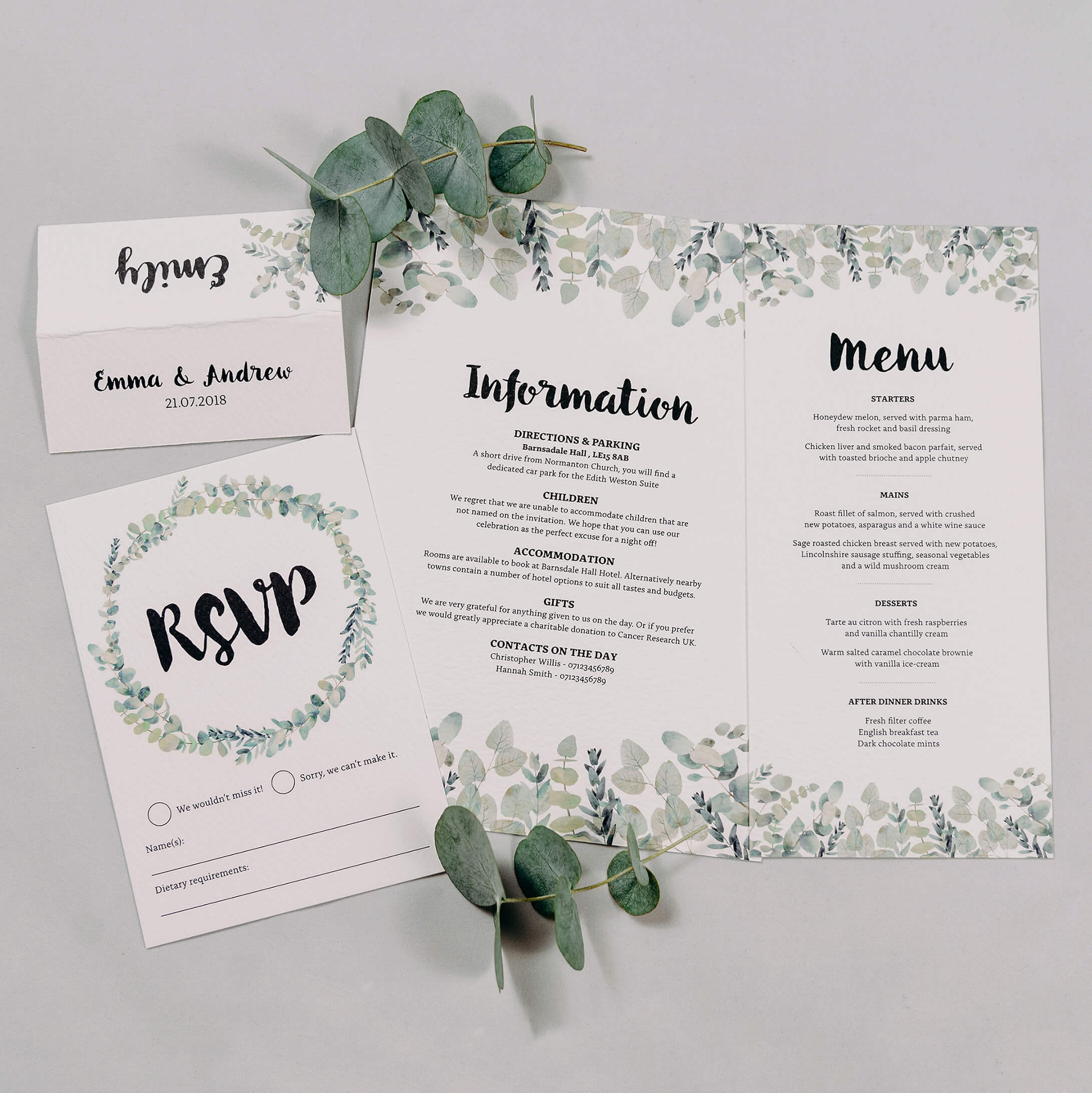 Rustic Green & White Eucalyptus Wedding Invitation Reserve With Information, RSVP Postcard, Wedding Menu & Wedding Place Name Card