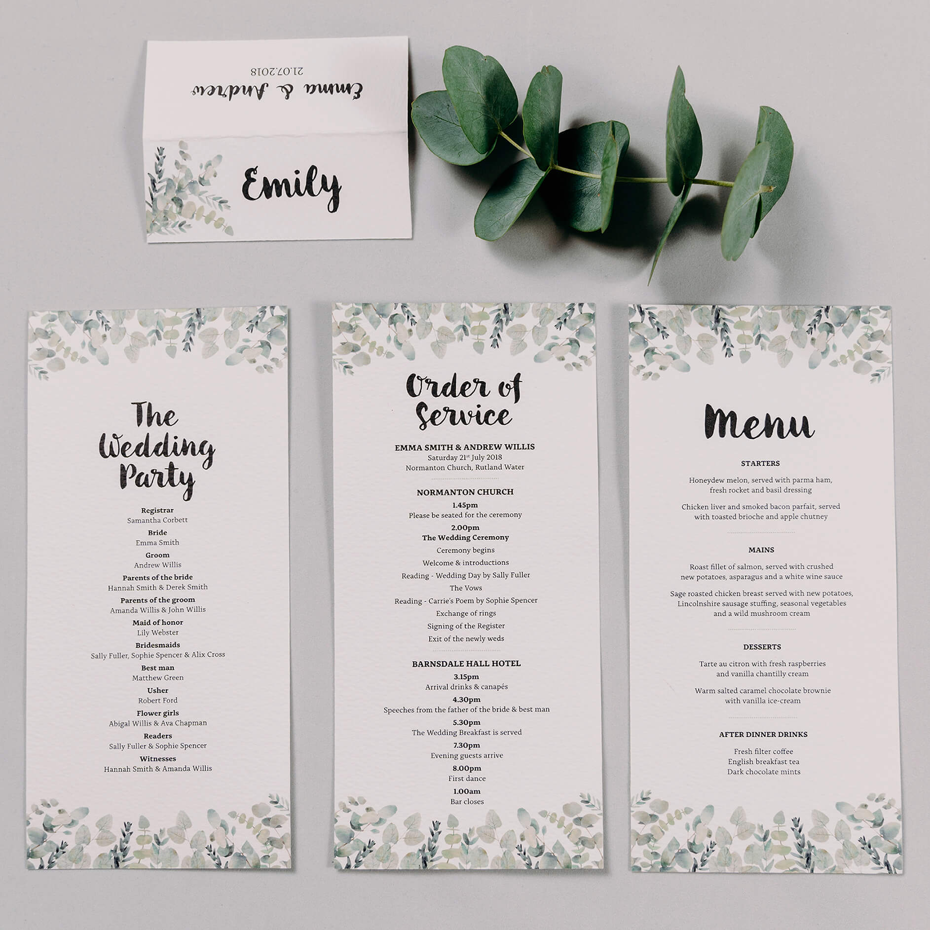 Rustic Green & White Eucalyptus Wedding Place Name Card, Menu Card and Double Sided Order Of Service Card