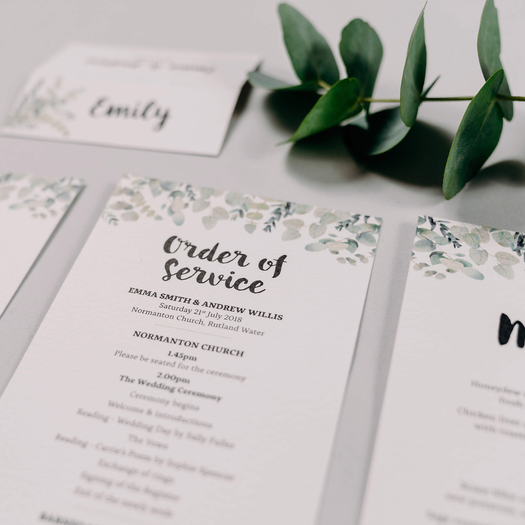 Rustic Green & White Eucalyptus Wedding Place Name Card & DL Order Of Service Card