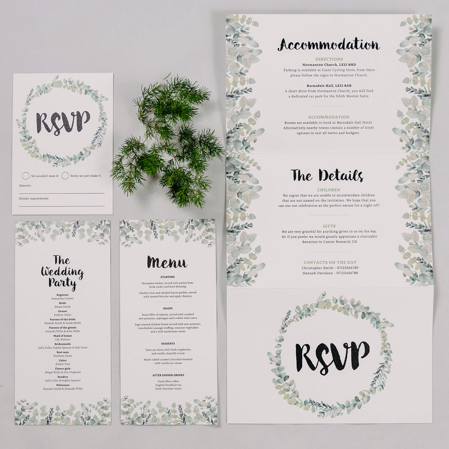 Rustic Green & White Eucalyptus Concertina Folded Wedding Invitation, RSVP Postcard, Wedding Menu & Wedding Order Of Service Card