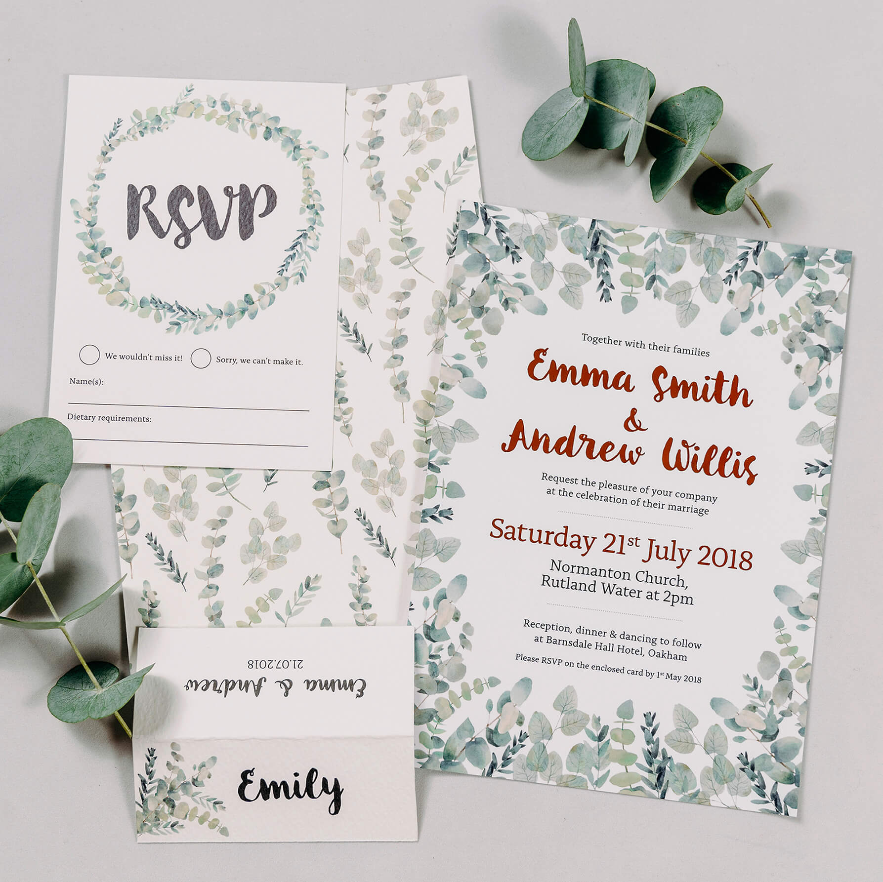 Rustic Green & White Eucalyptus Wedding Invitation With Copper Digital Foil, RSVP Postcard & Table Place Name Card