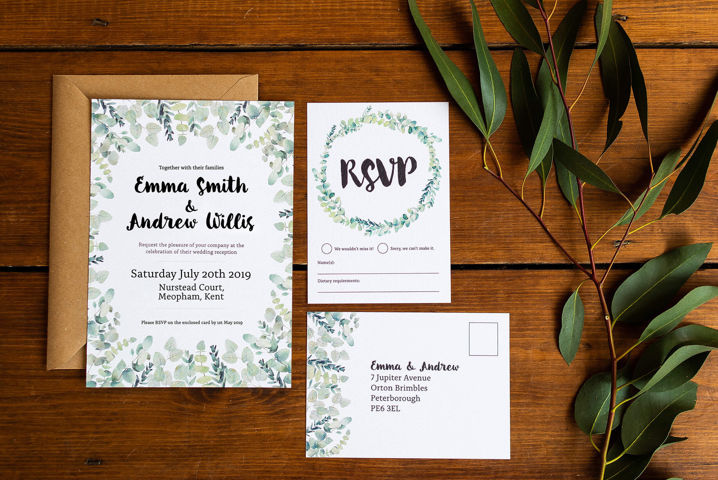 Design By Emily Rustic Eucalyptus Wedding Invitation with Kraft Brown Envelope and RSVP Postcard.