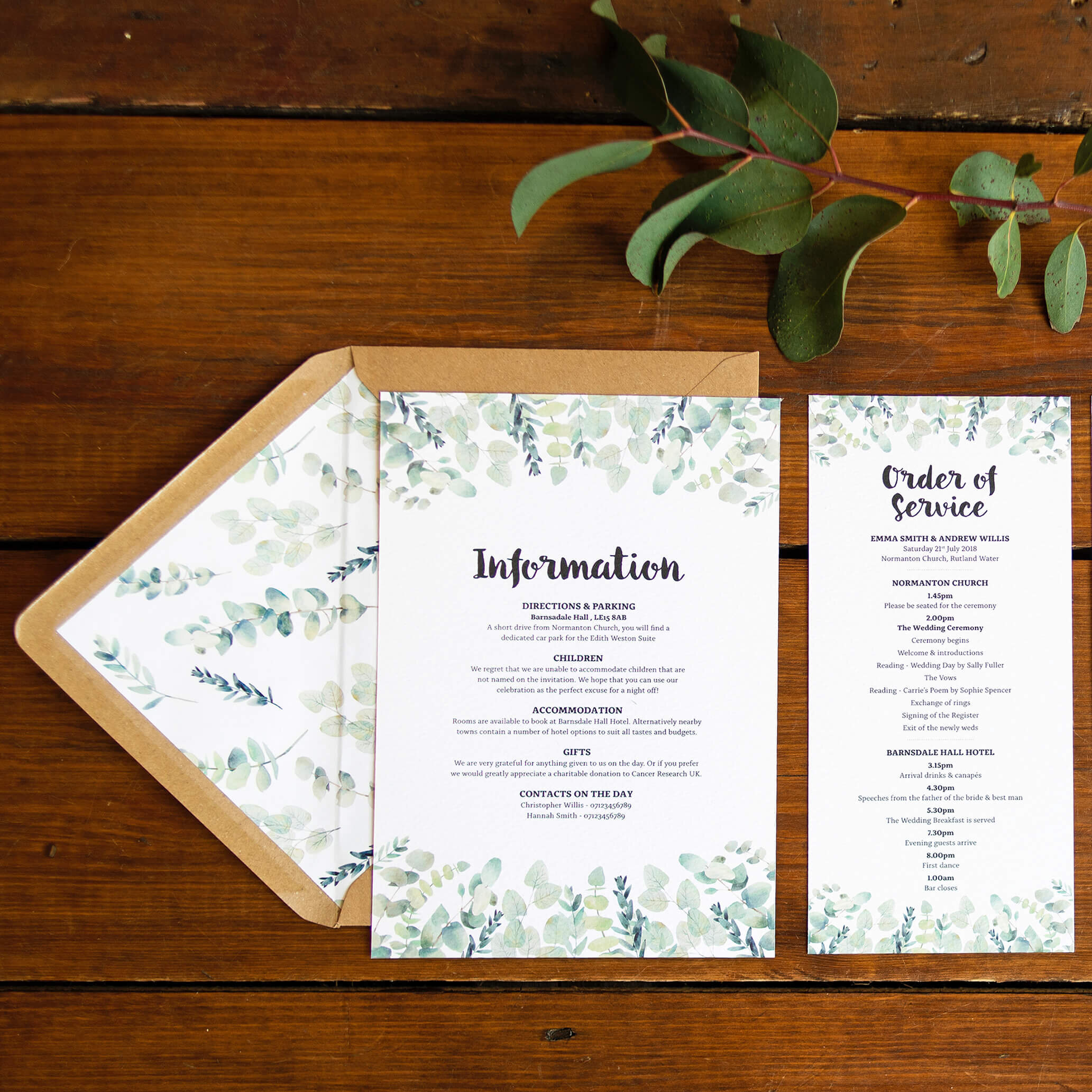 Design By Emily Rustic Eucalyptus Wedding Invitation with Kraft Brown Envelope and envelope liner, with order of service card.
