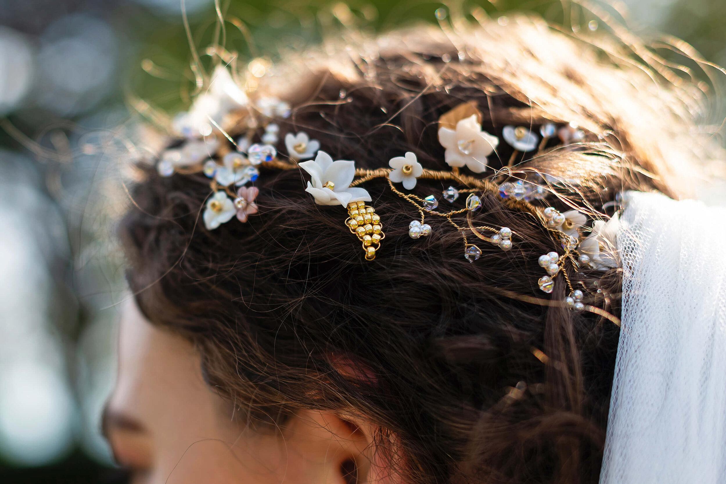 Bride with Sash & Veil Bridal veil, and PS With Love Bridal Hair Piece, at Nurstead Court Wedding Venue, Kent.