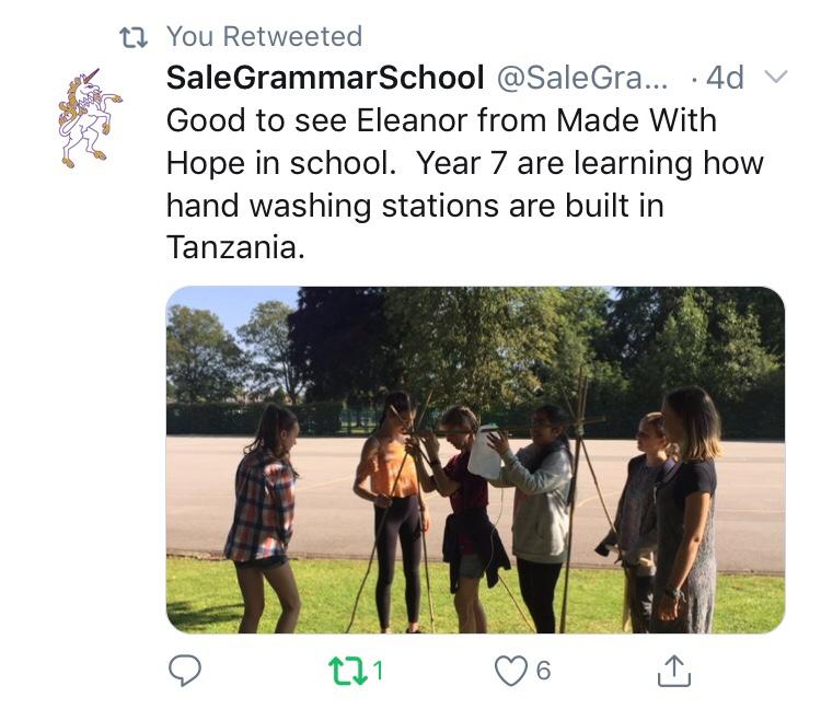 Sale Grammar School's tweet about our workshop.