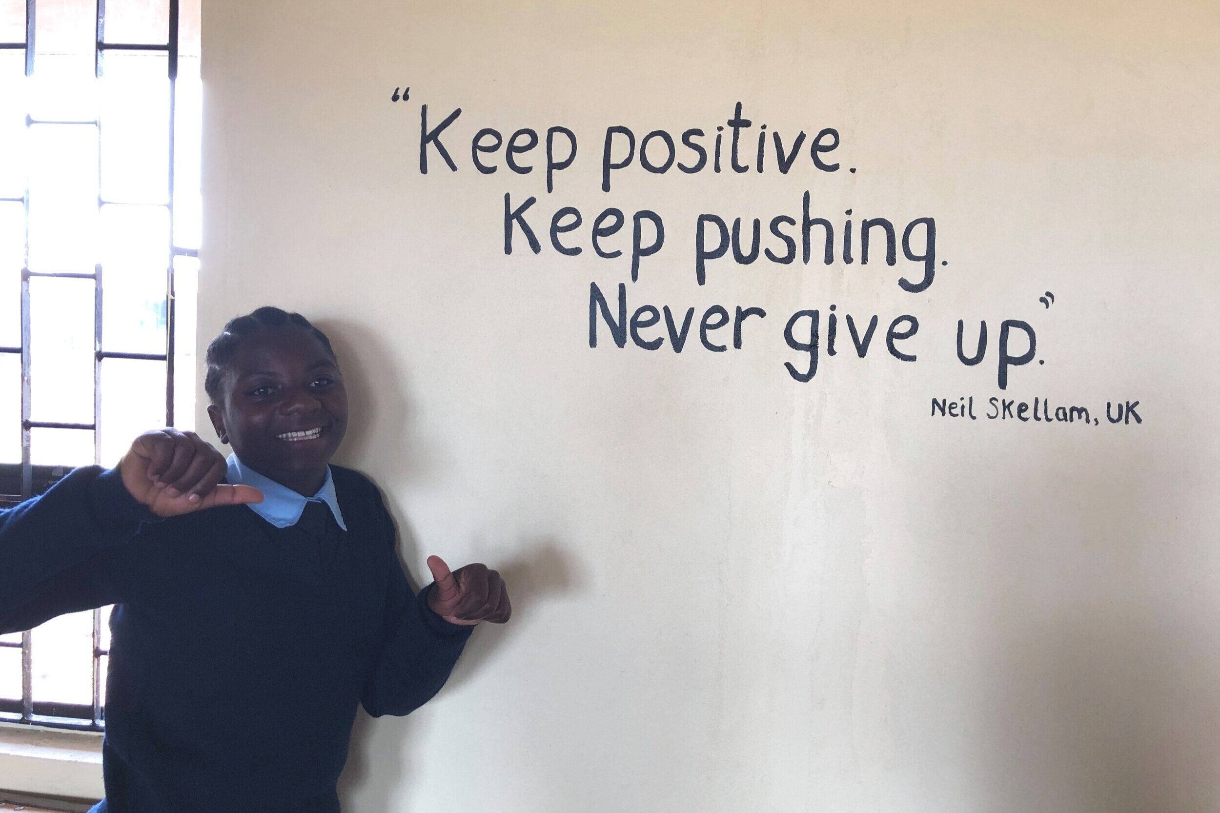 Sponsored runs for our school - We asked Neil for a quote to paint on the wall to motivate the students studying in the classroom he helped build.