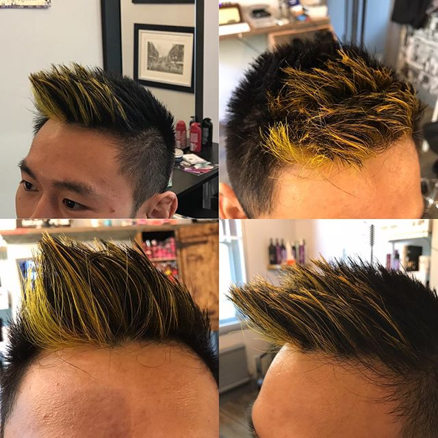 #asianhair #asianhaircolor #yellowhair #londoncut #londonfashion #londonstylist #stylistlondon #westside #westkensington  Had loads a fun doing this for my client just now. #boysholiday 22 boys on tour all had to have highlights. I hope we won best boys highlights on tour (Malta)  Colour used yellow Loreal colourful 50/50 mix ratio #londongay #londonbarbers #londonbarber #londonbarbershop
