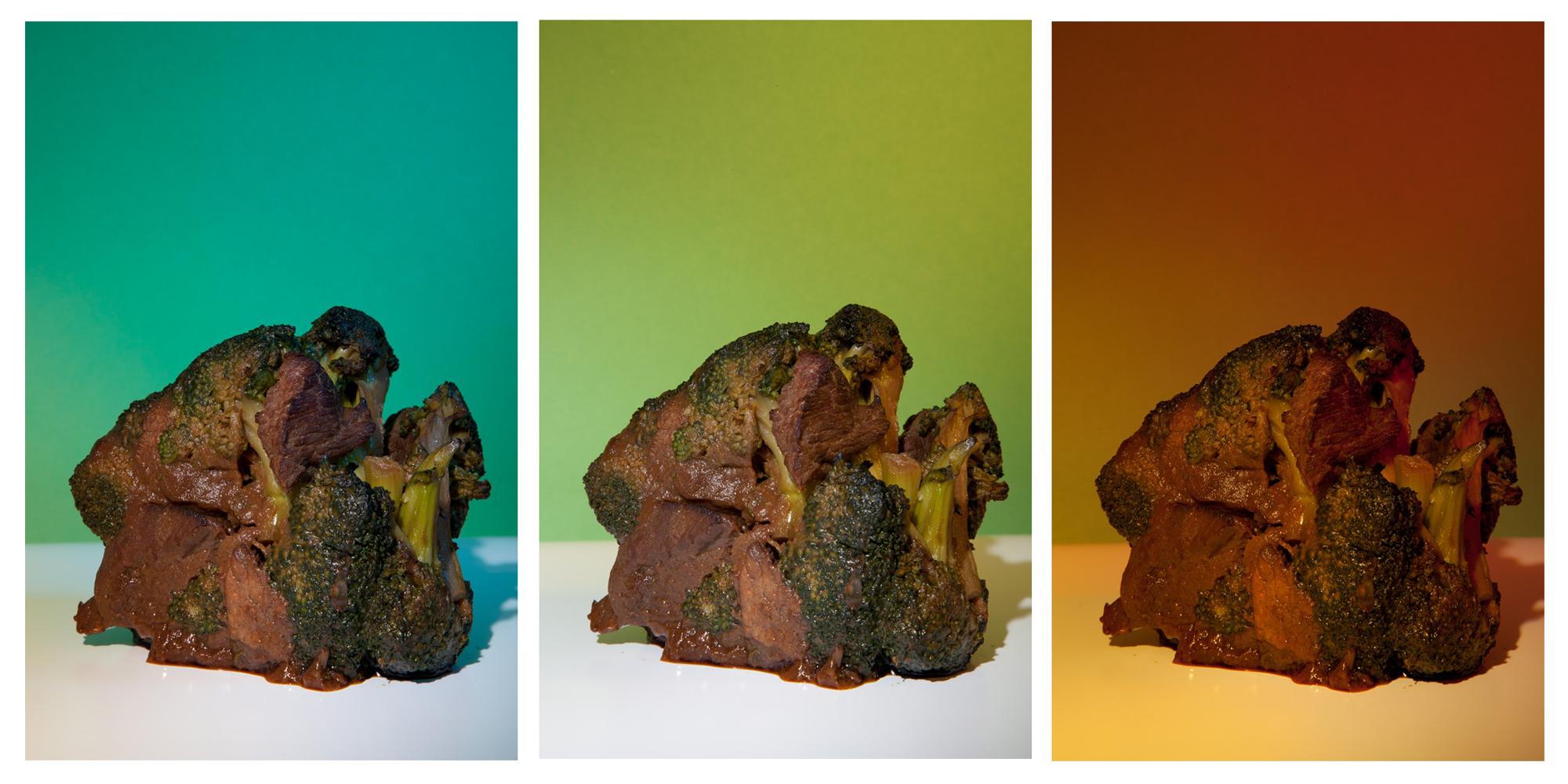 "Beef and Broccoli #5-1, #5-2, #5-3, 10""x16"" each, Archival Inkjet Print, 2011.  芥蘭牛五號之一、五號之二、五號之三,25x40公分,無酸微噴藝術紙,2011。"