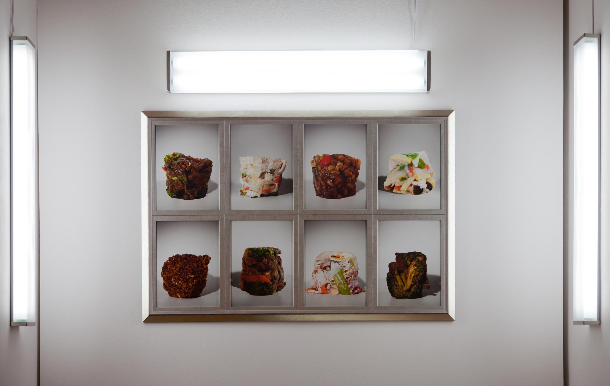"Eight-Dish Menu, 36""x54"", archival inkjet print with frame, florescent light fixtures, 2011.  八菜圖,92x136 公分,無酸微噴藝術紙、木製相框,2011。日光燈裝置尺寸依場地而定。"