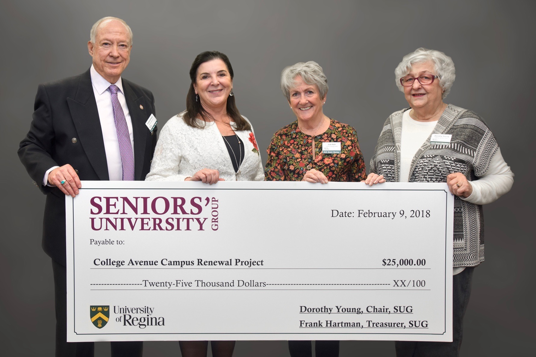 Dr. Timmins with S.U.G. Board Members. L to R: Frank Hartman, Treasurer; Dr. Timmins, Judi Ash, Chair, Promotion, Publicity and Fundraising Committee; and Dorothy Young, President.