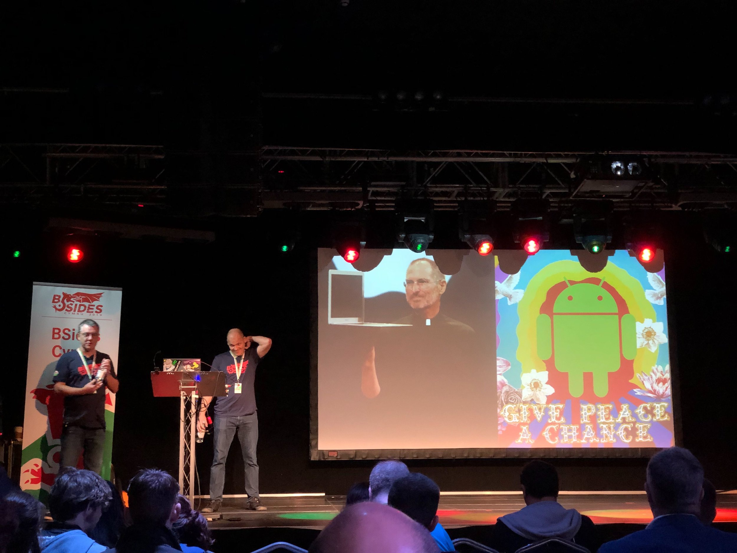 John Shier and Chester Wiesniewski of Sophos alongside 'Android Hippies' vs 'Our Dear Leader'