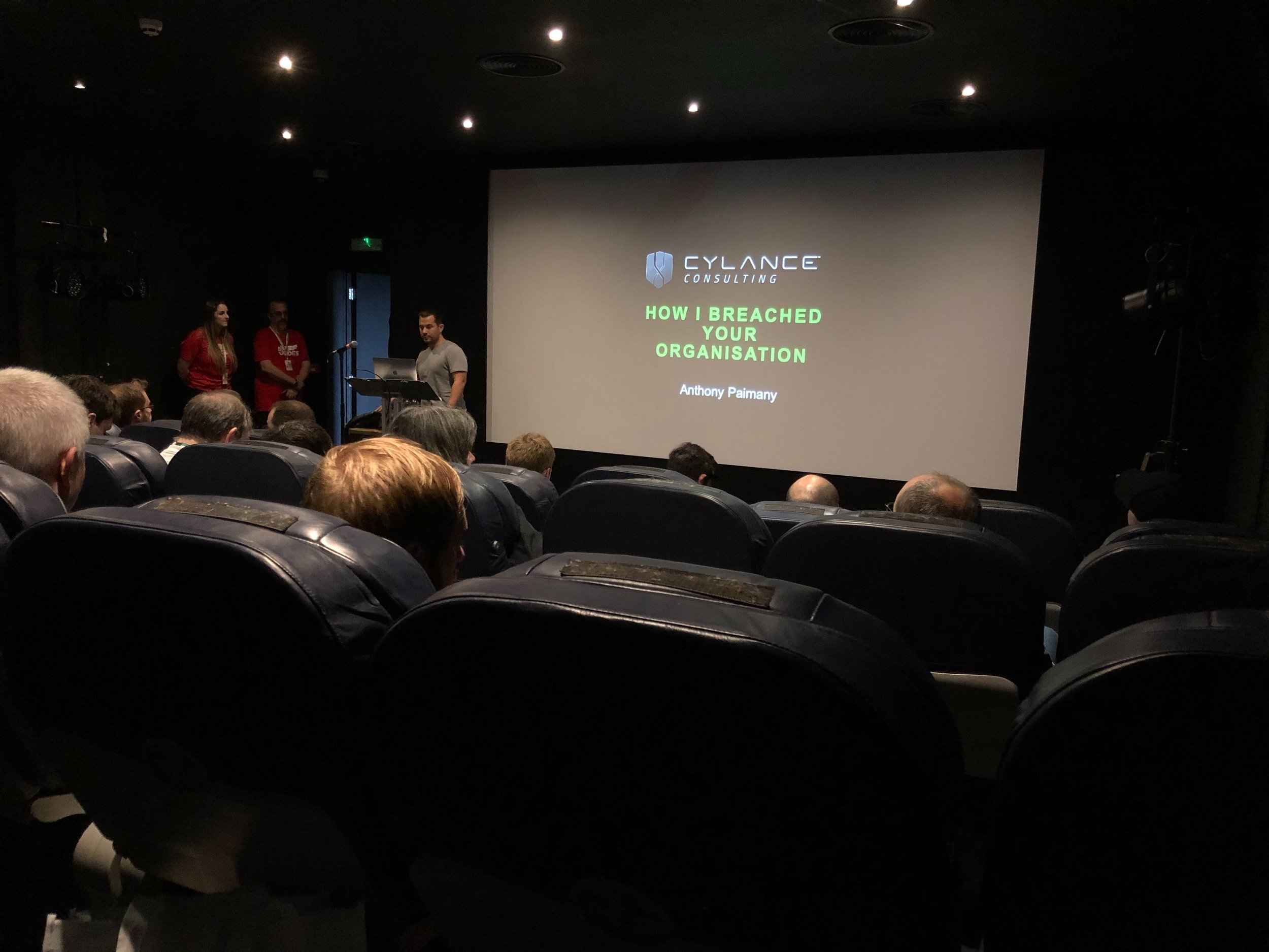 'How I breached your organisation' by Anthony Paimany from Blackberry Cylance, and the aeroplane seating in the Tramshed Cinema