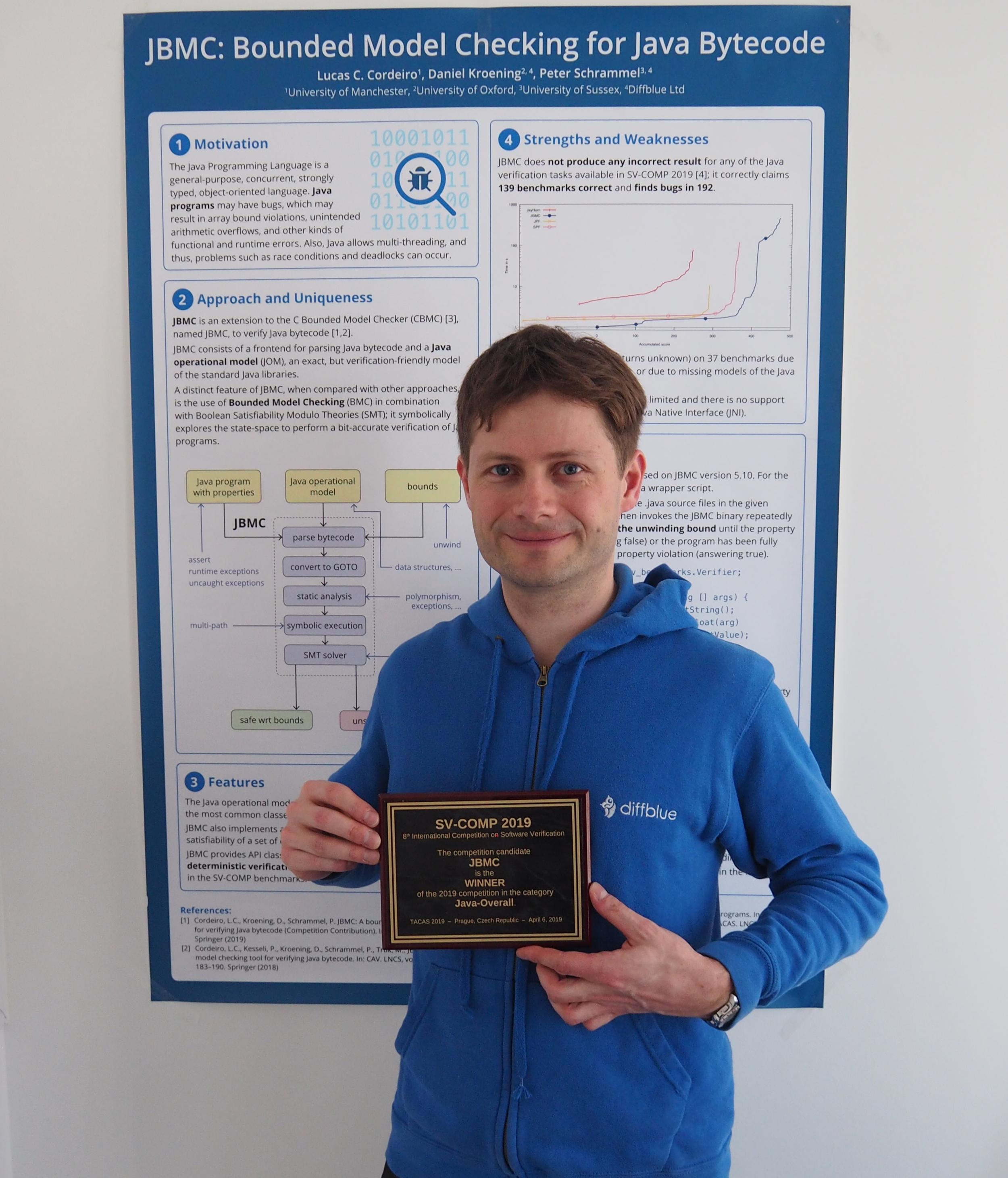 Diffblue's CTO Peter Schrammel receiving the award for the best Java software verification tool